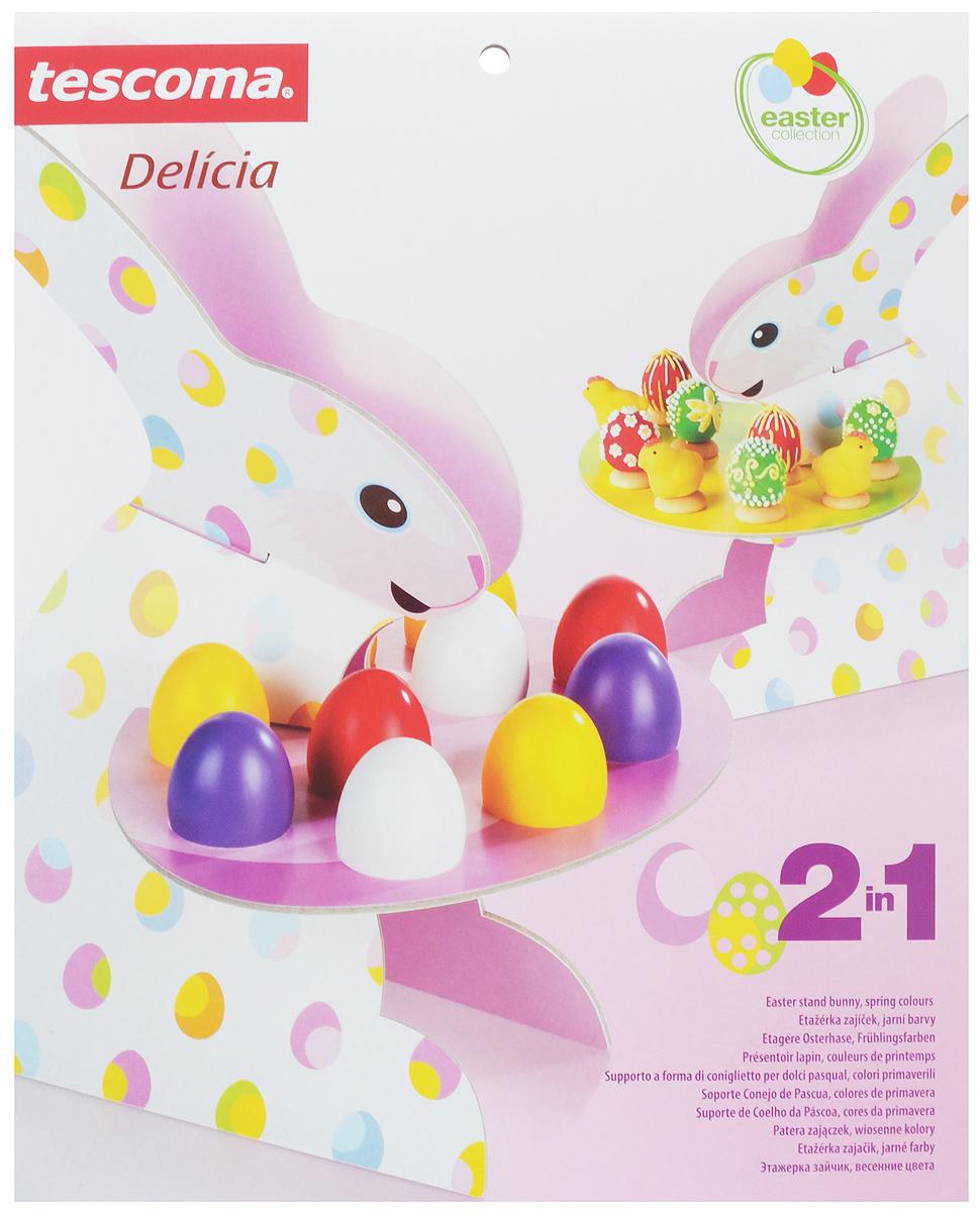 Этажерка для яиц и печенья Tescoma Зайчик, весенние цветы, высота 38 см630746Этажерка Tescoma Зайчик, весенние цветы отлично подходит для размещения пасхальных яиц и пасхального печенья, а также для других видов выпечки. Изделие выполнено из плотного картона, который устойчив к влаге и жиру. Этажерка легка в использовании - состоит из двух одинаковых симметричных частей в виде зайчика с двумя съемными цветными подносами. Все детали легко соединяются друг с другом, и также легко раскладываются. Рекомендуется чистка только сухим полотенцем. Не мыть под проточной водой или в посудомоечной машине, не ставить в холодильник. Общий размер: 25 х 27 х 38 см.Высота этажерки: 36 см.Размер подносов: 27 х 21 см. Количество размещаемых яиц на подносе с отверстиями: 10 шт.
