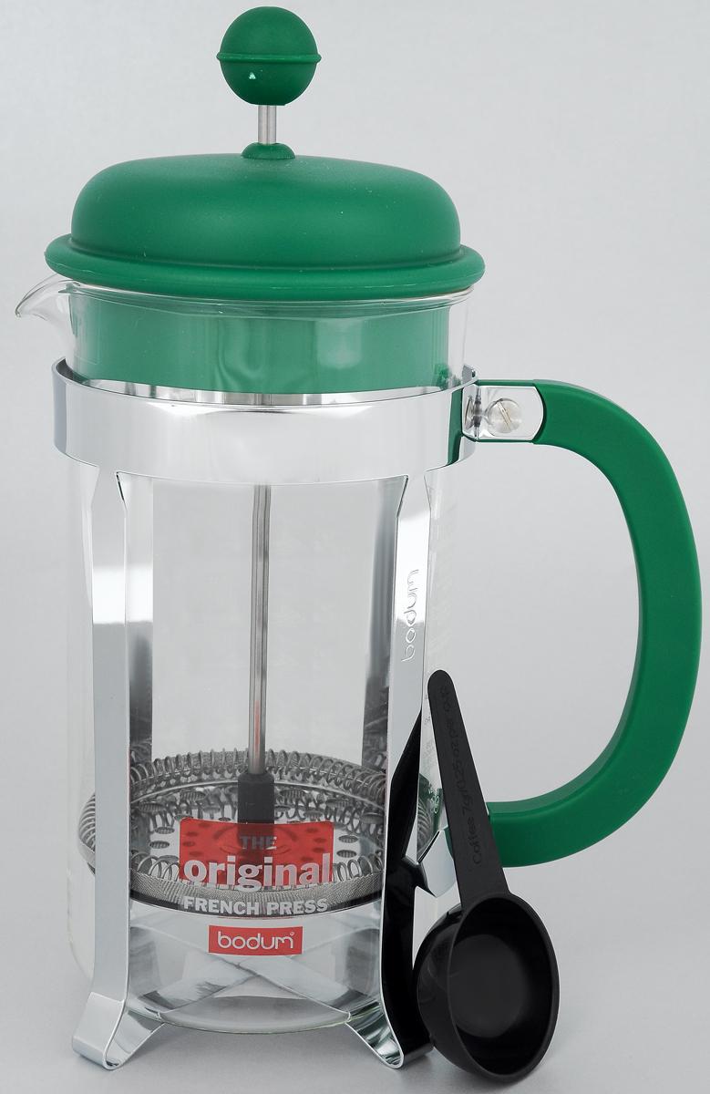 Френч-пресс Bodum Caffettiera, с мерной ложкой, цвет: зеленый, серебристый, 1 лA1918-825-Y15Френч-пресс Bodum Caffettiera изготовлен из высококачественной нержавеющей стали, пластика и жаропрочного стекла. Фильтр-поршень из нержавеющей стали выполнен по технологии Press-Up для обеспечения равномерной циркуляции воды. Засыпая чайную заварку или кофе под фильтр, заливая горячей водой, вы получаете ароматный напиток с оптимальной крепостью и насыщенностью. Френч-пресс Caffettiera позволит быстро и просто приготовить свежий и ароматный кофе или чай. В комплект входит пластиковая ложка. Можно мыть в посудомоечной машине.Можно мыть в посудомоечной машине.Диаметр френч-пресса (по верхнему краю): 9,5 см.Высота френч-пресса: 24,5 см.Длина ложки: 10 см.Диаметр рабочей поверхности ложки: 4,5 см.