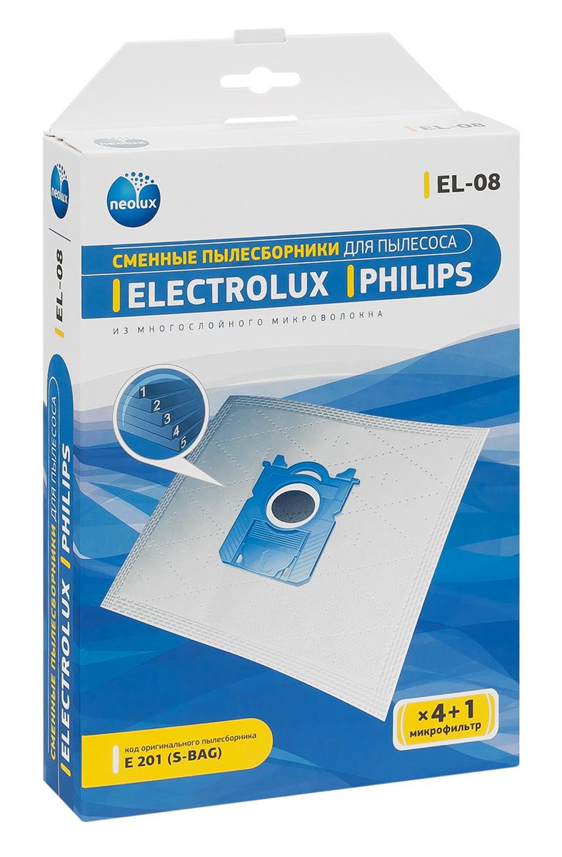 Neolux EL-08 пылесборник из пятислойного микроволокна (4 шт) + микрофильтрEL-08Пылесборники Neolux EL-08 предназначены для пылесосов Electrolux, Philips. Изготовлены из пятислойного микроволокна и содержат 2 слоя Meltblown, которые и являются основными фильтрующими элементами. Задерживают 99,9 % пыли, идеальны для людей, страдающих аллергией. Не боятся случайного попадания влаги и острых предметов. Служат в 1,5 раза дольше бумажных пылесборников. Продлевают срок службы двигателя пылесоса. Сокращают время уборки за счет сохранения мощности двигателя пылесоса.В комплект входит универсальный фильтр защиты двигателя размером 125х195 мм.Совместимые модели:Electrolux: Airmax, Clario, Cyclonexl, Ergobox, Ergoeasy, Ergospace, Excellio, Maximus, Oxy, Oxygen, Smartvac, Ultra Active, Ultra One, Ultra Silencer, Viva Quipstop, Viva Control Philips: Airstar, City-Line, Easylife, Expression, Homehero, Impact, Jewel, Mobilo, Performer, Performeractive, Performerexpert Eco, Performerpro, Powerlife, Silentstar, Smallstar, Specialist, Studio(Power), Universe