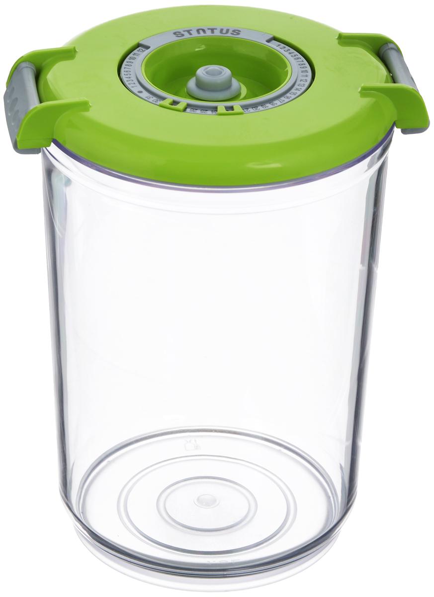 Контейнер вакуумный Status, с индикатором даты срока хранения, цвет: прозрачный, зеленый, 1,5 лVAC-RD-15 GreenВакуумный контейнер Status выполнен из хрустально-прозрачного прочного тритана. Благодаря вакууму, продукты не подвергаются внешнему воздействию, и срок хранения значительно увеличивается, сохраняют свои вкусовые качества и аромат, а запахи в холодильнике не перемешиваются. Допускается замораживание до -21°C, мойка контейнера в посудомоечной машине, разогрев в СВЧ (без крышки). Рекомендовано хранение следующих продуктов: макаронные изделия, крупа, мука, кофе в зёрнах, сухофрукты, супы, соусы. Контейнер имеет индикатор даты, который позволяет отмечать дату конца срока годности продуктов.Размер контейнера (с учетом крышки): 13 х 13 х 19,5 см.