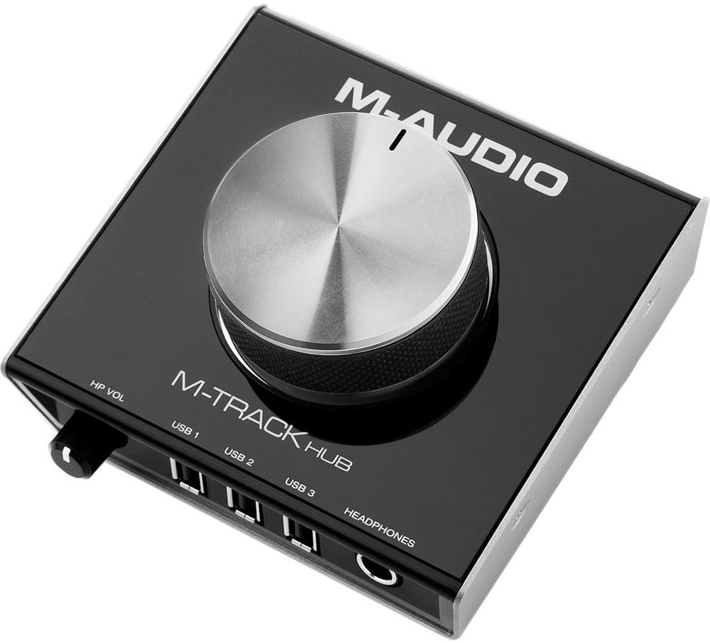 M-Audio M-Track Hub аудиоинтерфейсM-AUDIOОдной из отличительных особенностей M-Track Hub является простота в использовании. Это USB-интерфейс для аудио мониторинга, в котором отсутствуют аналоговые входы для записи. Однако его можно применять как активный USB-хаб для питания жестких дисков, MIDI-контроллеров и других устройств.Особенности:24-битное воспроизведение звука в студийном качествеБалансные Main-выходы на стандартных TRS –разъёмахНа верхней панели эргономичный регулятор уровня выходного сигнала из металла3 USB-порта для питания разных внешних устройствВыход к наушникам с независимой регулировкой громкости
