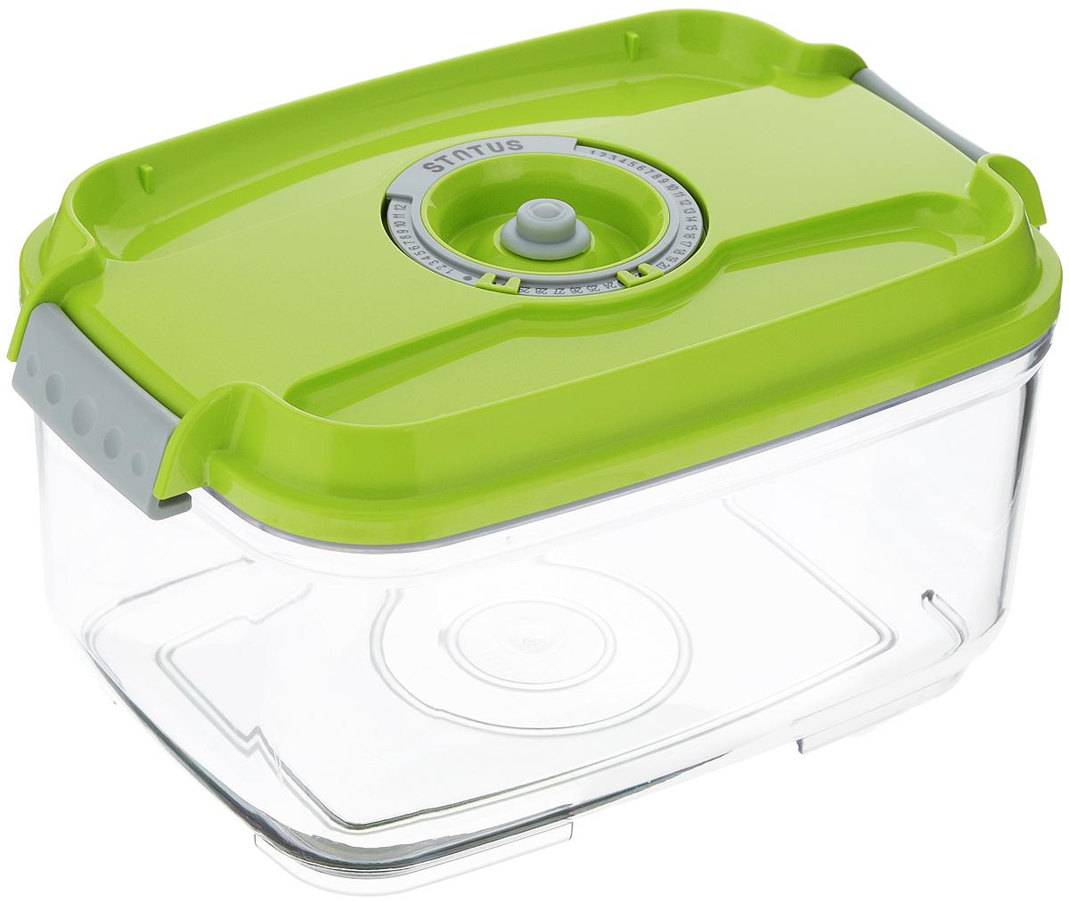 """Вакуумный контейнер """"Status"""" выполнен из  хрустально-прозрачного прочного тритана.  Благодаря вакууму, продукты не подвергаются  внешнему воздействию, и срок хранения  значительно увеличивается, сохраняют свои  вкусовые качества и аромат, а  запахи в холодильнике не перемешиваются.  Допускается замораживание до -21°C, мойка  контейнера в посудомоечной машине, разогрев в  СВЧ (без крышки).  Рекомендовано хранение следующих продуктов:  макаронные изделия, крупа, мука, кофе в зёрнах,  сухофрукты, супы, соусы.  Контейнер имеет индикатор даты, который  позволяет отмечать дату конца срока годности  продуктов. Размер контейнера (с учетом крышки): 22,5 х 15,5 х 11,5 см."""