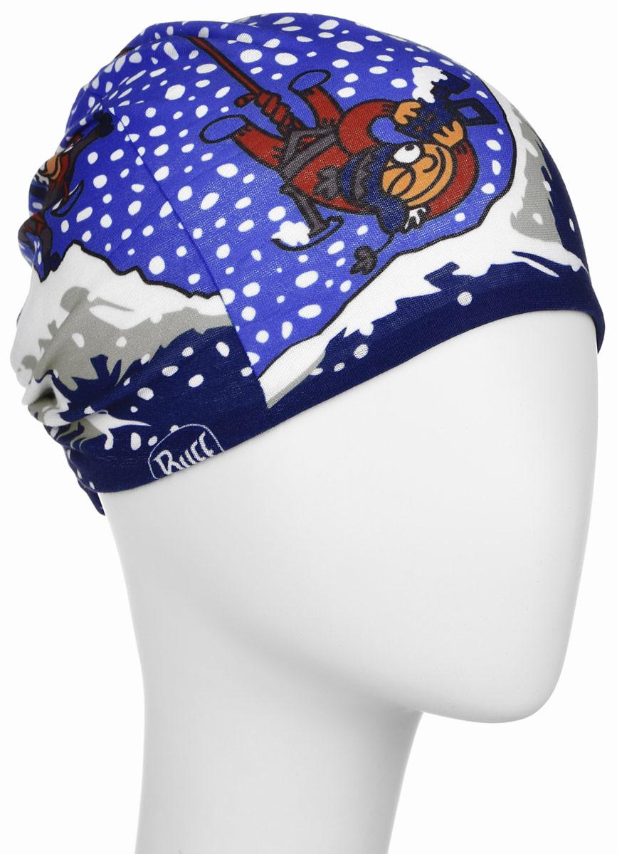 Бандана детская Buff Original Kukuxumusu Original Alnanga, цвет: синий, голубой. 108234.00. Размер универсальный108234.00Многофункциональная детская бандана из серии Kukuxumusu выполнена из мягкой микрофибры. Благодаря материалу Coolmax, влага моментально отводится наружу и высыхает, также обеспечивается 95% защита от ультрафиолетовых лучей. Специальная четырехканальная структура материала Coolmax Extreme формирует систему, которая выводит влагу наружу от кожи к внешнему слою ткани. Благодаря своевременному отводу влаги поддерживается нормальная температура тела, и снижается риск перегрева. Ткань обработана ионами серебра, обеспечивающими длительный антибактериальный эффект и предотвращающими появление запаха. Материал не теряет цвет и эластичность, не требует глажки. Бесшовная бандана-труба оформлена контрастным рисунком и фирменным логотипом бренда. Модель можно носить на шее и на голове, как шейный платок, маску, бандану, шапку и подшлемник. Изделие очень эластично и принимает практически любую форму. Свойства материала позволяют использовать бандану в любое время года, при занятиях любым видом спорта, активного отдыха, туризма.