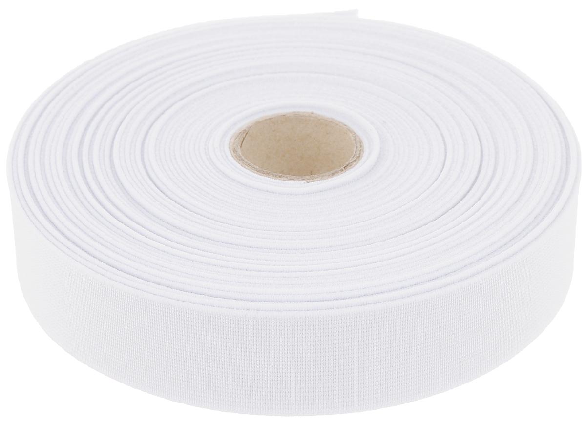 Лента эластичная Prym, цвет: белый, 2,5 см х 10 м лента эластичная prym color зубец 25 мм 7 м