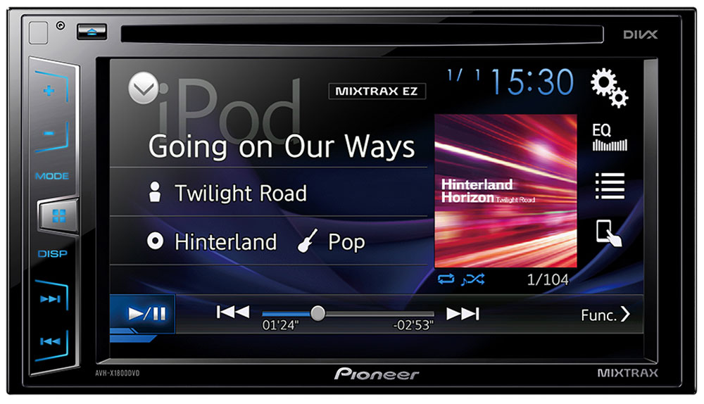 Pioneer AVH-X1800DVD мультимедийная система1024279Pioneer AVH-X1800DVD - мультимедийная система с сенсорным экраном Clear Type и встроенным звуковым процессором.Данная модель воспроизводит аудио/видео контент практически с любого источника, будь то CD, DVD, USB носитель или последние поколения iPhone и Android-смартфонов. Наслаждайтесь музыкой и фильмами на большом сенсорном экране 6,2.Посредством USB-кабеля вы можете подключить к ресиверу совместимые iPhone или Android телефоны и с легкостью управлять совместимыми приложениями прямо с головного устройства автомобиля.В модели предусмотрены многочисленные технологии улучшения звука , такие как 13-полосный графический эквалайзер, автоматический эквалайзер и автоматическая синхронизация звука (Time Alignment), которые дают возможность настроить звук так, как вам нравится. А фирменная технология MIXTRAX EZ позволяет воспроизводить музыкальные треки в режиме нон-стоп с различными диджейскими эффектами.Система оснащена раздельной подсветкой кнопок и дисплея. Вы можете выбирать из 210 000 оттенков.Магнитола обладает встроенным усилителем с большой мощностью. Он обеспечивает превосходную чистоту и насыщенность звучания даже при выборе большого уровня громкости.Кроме того, к устройству можно подключить дополнительные усилители для акустических систем, а также сабвуфер, воспользовавшись разъемами RCA.