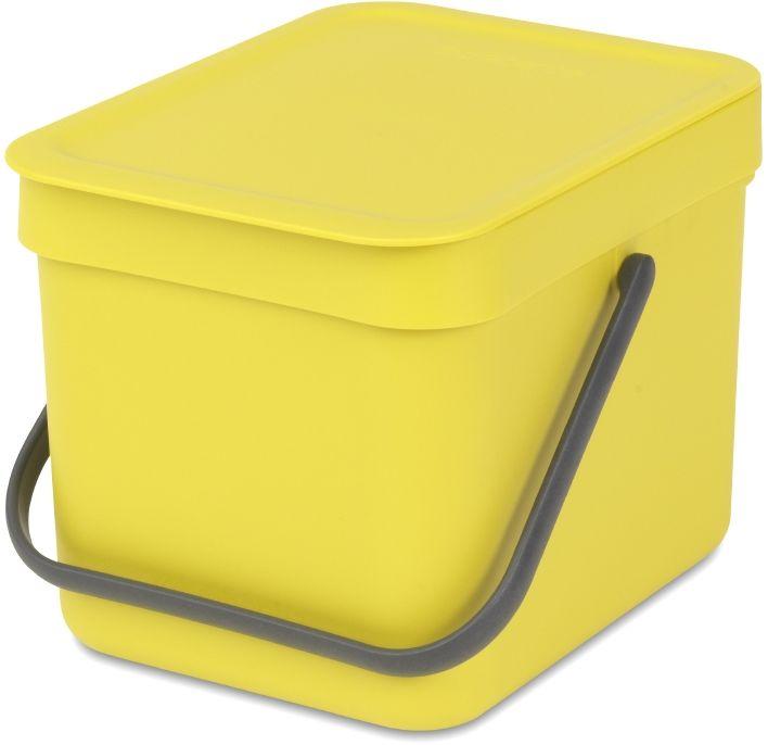 Ведро мусорное Brabantia Sort & Go, встраиваемое, цвет: желтый, 6 л. 109683