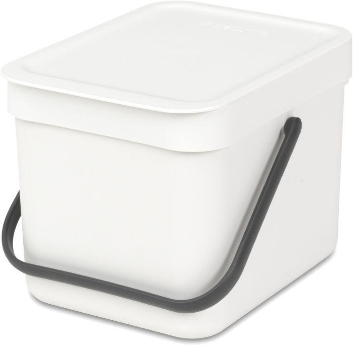 Ведро мусорное Brabantia Sort & Go, встраиваемое, цвет: белый, 6 л. 109706