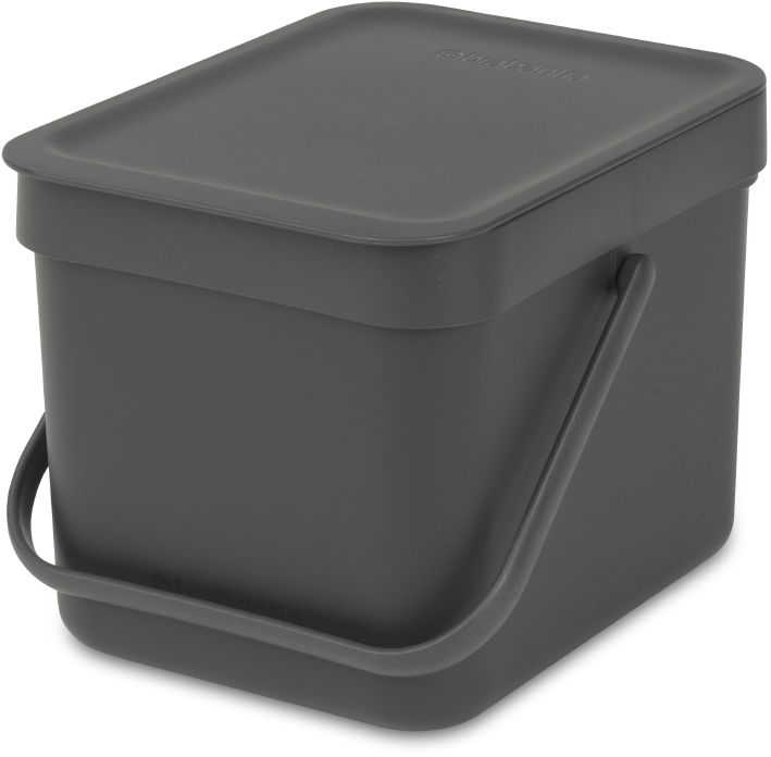 Ведро мусорное Brabantia  Sort & Go , встраиваемое, цвет: серый, 6 л. 109720 -  Инвентарь для уборки
