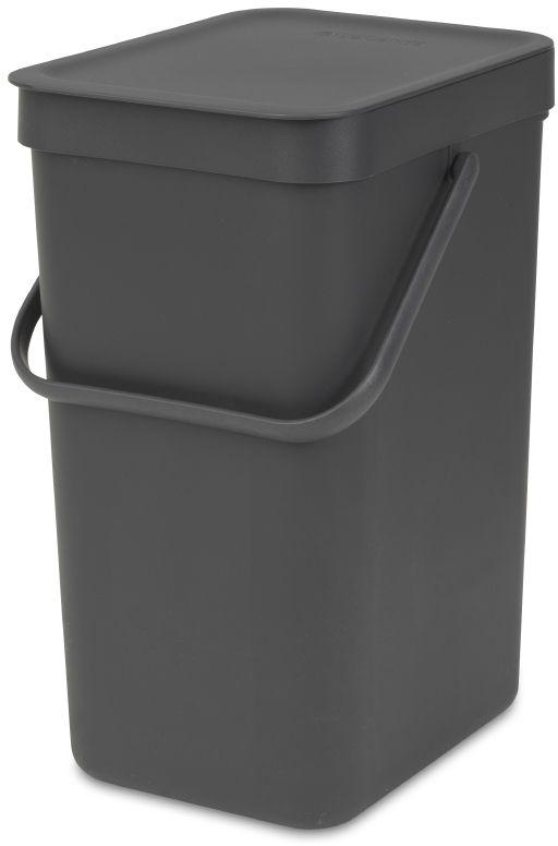 Ведро для мусора Brabantia Sort & Go, встраиваемое, цвет: серый, 12 л. 109805109805Ведро для мусора Brabantia Sort & Go - идеальное решение для раздельного сбора домашних отходов. Может использоваться на полу или крепиться к стене – в комплект входит настенный держатель. Прочная ручка и удобный захват снизу для удобства освобождения от мусора. Имеются идеально подходящие по размеру мешки PerfectFit (размер C) – удобно устанавливаются в ведро. Также предлагаются идеально подходящие по размеру биоразлагаемые мешки для компостируемых отходов (размер С) – удобно устанавливаются в ведро.