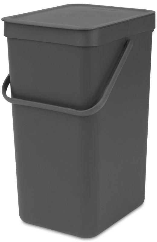 Ведро мусорное Brabantia Sort & Go, встраиваемое, цвет: серый, 16 л. 109966