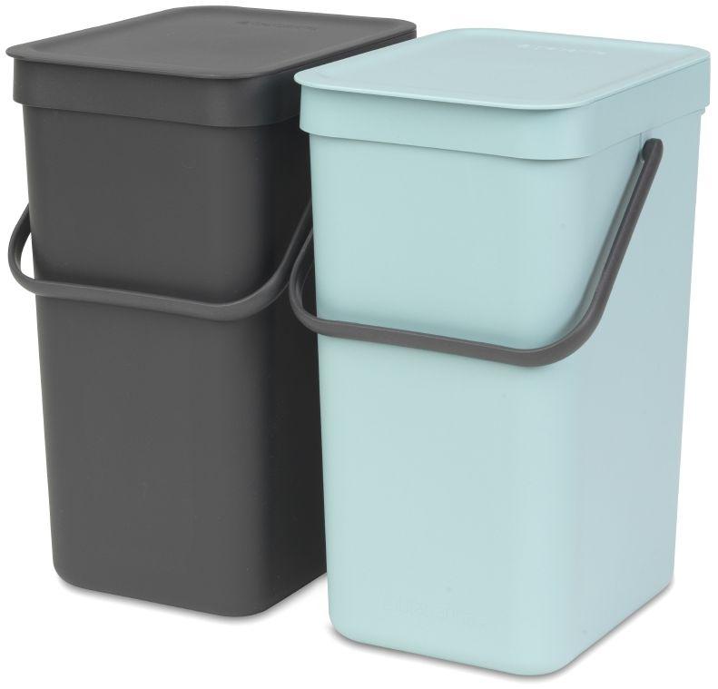 Набор ведер для мусора Brabantia  Sort & Go , цвет: мятный, серый, 2 шт х 12 л -  Инвентарь для уборки