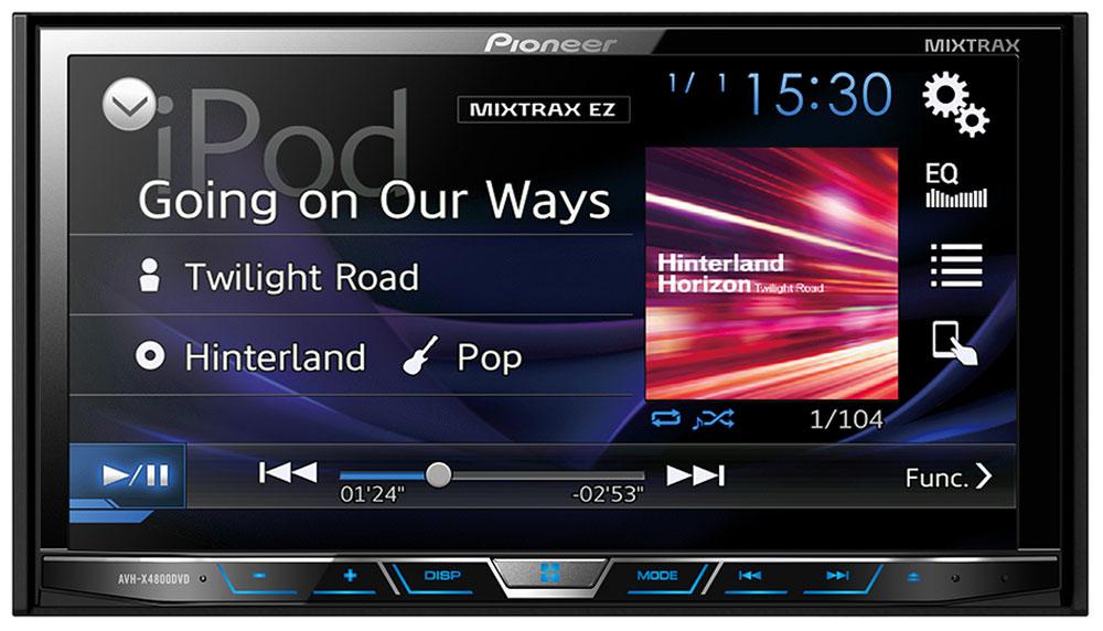 Pioneer AVH-X4800DVD мультимедийная система1024282Pioneer AVH-X4800DVD - мультимедийная система с сенсорным экраном Clear Type и встроенным звуковым процессором (24 бит).Данная модель воспроизводит аудио/видео контент практически с любого источника, будь то CD, DVD, USB носитель или последние поколения iPhone и Android-смартфонов. Наслаждайтесь музыкой и фильмами на большом сенсорном экране 7.Посредством USB-кабеля вы можете подключить к ресиверу совместимые iPhone или Android телефоны и с легкостью управлять совместимыми приложениями прямо с головного устройства автомобиля.В модели предусмотрены многочисленные технологии улучшения звука , такие как 13-полосный графический эквалайзер, автоматический эквалайзер и автоматическая синхронизация звука (Time Alignment), которые дают возможность настроить звук так, как вам нравится. А фирменная технология MIXTRAX EZ позволяет воспроизводить музыкальные треки в режиме нон-стоп с различными диджейскими эффектами.Система оснащена раздельной подсветкой кнопок и дисплея. Вы можете выбирать из 210 000 оттенков.Магнитола обладает встроенным усилителем с большой мощностью. Он обеспечивает превосходную чистоту и насыщенность звучания даже при выборе большого уровня громкости.Кроме того, к устройству можно подключить дополнительные усилители для акустических систем, а также сабвуфер, воспользовавшись разъемами RCA.