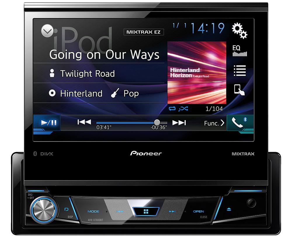 Pioneer AVH-X7800BT мультимедийная система1024284Pioneer AVH-X7800BT - мультимедийная система с 7 выдвижным экраном Clear Type, Bluetooth, USB, AUX и встроенным звуковым процессором.За считанные секунды модель размера 1-DIN превращается в комплексную 7-дюймовую автомобильную развлекательную систему. Разложите большой сенсорный экран и подключите к мультимедийному проигрывателю совместимый iPhone или телефон на базе Android по одному USB-кабелю, чтобы удобно и безопасно управлять поддерживаемыми приложениями с приборной панели. Поддерживается воспроизведение музыки и видео с компакт- и DVD-дисков, а также USB-устройств.Pioneer AVH-X7800BT поддерживает Bluetooth 3.0, что позволяет прослушивать музыку или совершать звонки по беспроводному подключению. Благодаря использованию технологии Sound Retriever для Bluetooth достигается высокое качество звучания при беспроводном подключении.Широкие возможности высококачественного воспроизведения музыки, включая 13-полосный графический эквалайзер, автоматический эквалайзер и функцию Time Alignment, позволяют индивидуально настроить звук в соответствии с вашими предпочтениями.MIXTRAX EZ - фирменная технология компании Pioneer, позволяющая микшировать музыкальные треки между собой, заполняя паузы между ними различными диджейскими эффектами, а также использующая эффекты подсветки для максимального погружения в атмосферу ночного клуба.Благодаря iPod and iPhone Direct Control вы можете управлять своим i-устройством непосредственно с приборной панели автомобиля, наслаждаясь превосходным звучанием.Система оснащена раздельной подсветкой кнопок и дисплея. Вы можете выбирать из 210 000 оттенков.
