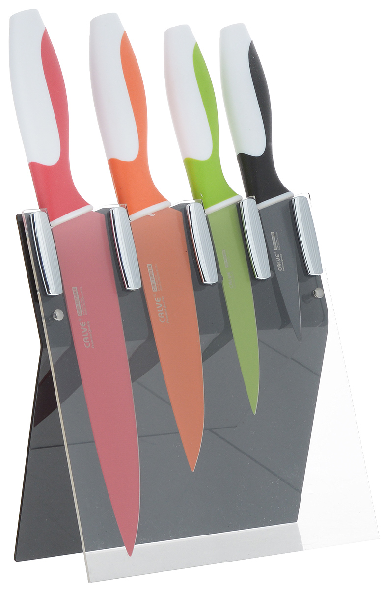 """Набор ножей """"Calve"""" состоит из 4 ножей: поварского, универсального, восточного и ножа для чистки. Предметы набора изготовлены из нержавеющей стали и пластика. В набор входит пластиковая подставка для ножей, которая не требует дополнительной установки.Такой набор займет достойное место среди аксессуаров на вашей кухне. Длина универсального ножа: 23 см. Длина лезвия универсального ножа: 13 см. Длина ножа для чистки: 20 см. Длина лезвия ножа для чистки: 8 см. Длина поварского ножа: 31 см. Длина лезвия поварского ножа: 20 см. Длина восточного ножа: 27 см. Длина лезвия восточного ножа: 15 см. Размер пластиковой подставки для ножей: 19 х 8 х 19 см."""