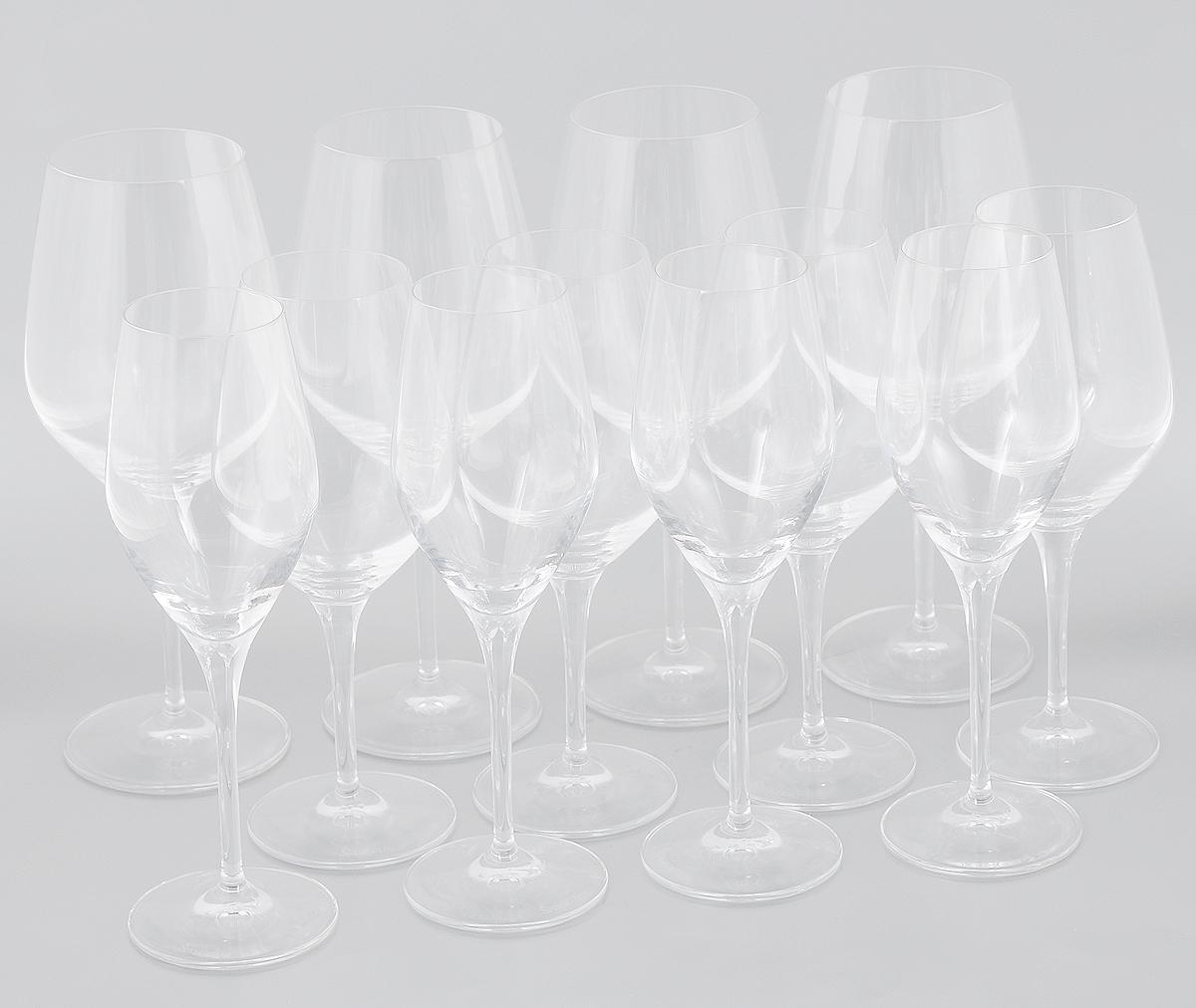 Набор бокалов Spiegelau Аутентис, 12 шт4400192Набор Spiegelau Аутентис состоит из 12 бокалов, выполненных из прочного стекла. Изделия оснащены высокими ножками. Бокалыпредназначены для подачи шампанского, красного и белого вина. Они сочетают в себе элегантный дизайн и функциональность. Благодаря такому набору пить напитки будет еще вкуснее.Набор бокалов Spiegelau Аутентис прекрасно оформит праздничный стол и создаст приятную атмосферу за романтическим ужином. Такой набор также станет хорошим подарком к любому случаю.Можно мыть в посудомоечной машине.Диаметр бокала для шампанского (по верхнему краю): 5 см.Диаметр основания бокала для шампанского: 7 см. Высота бокала для шампанского: 22,5 см. Диаметр бокала для белого вина (по верхнему краю): 5,5 см.Диаметр основания бокала для белого вина: 7,5 см. Высота бокала для белого вина: 21 см. Диаметр бокала для красного вина (по верхнему краю): 7 см.Диаметр основания красного для белого вина: 8,5 см. Высота бокала для красного вина: 23,5 см.