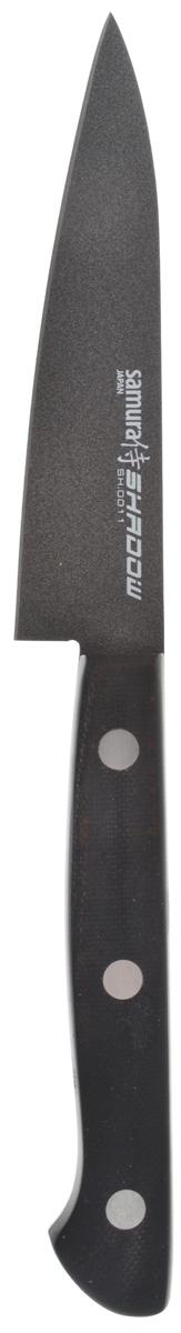 Нож для чистки овощей Samura Shadow, длина лезвия 10 см. SH-0011SH-0011Нож для чистки овощей Samura Shadow с покрытием BLACK FUSO позволит успешно работать с разными плодами, включая и вареные овощи, ведь кожура к лезвию приставать не будет. Этот нож обладает прекрасной рукоятью с особой эргономикой, и это исключит риск его выскальзывания даже из влажных рук. Инструмент практичен, не требует частой заточки, максимально прост и удобен, подходит для любителей кулинарии и профессионалов.Общая длина ножа: 20,3 см