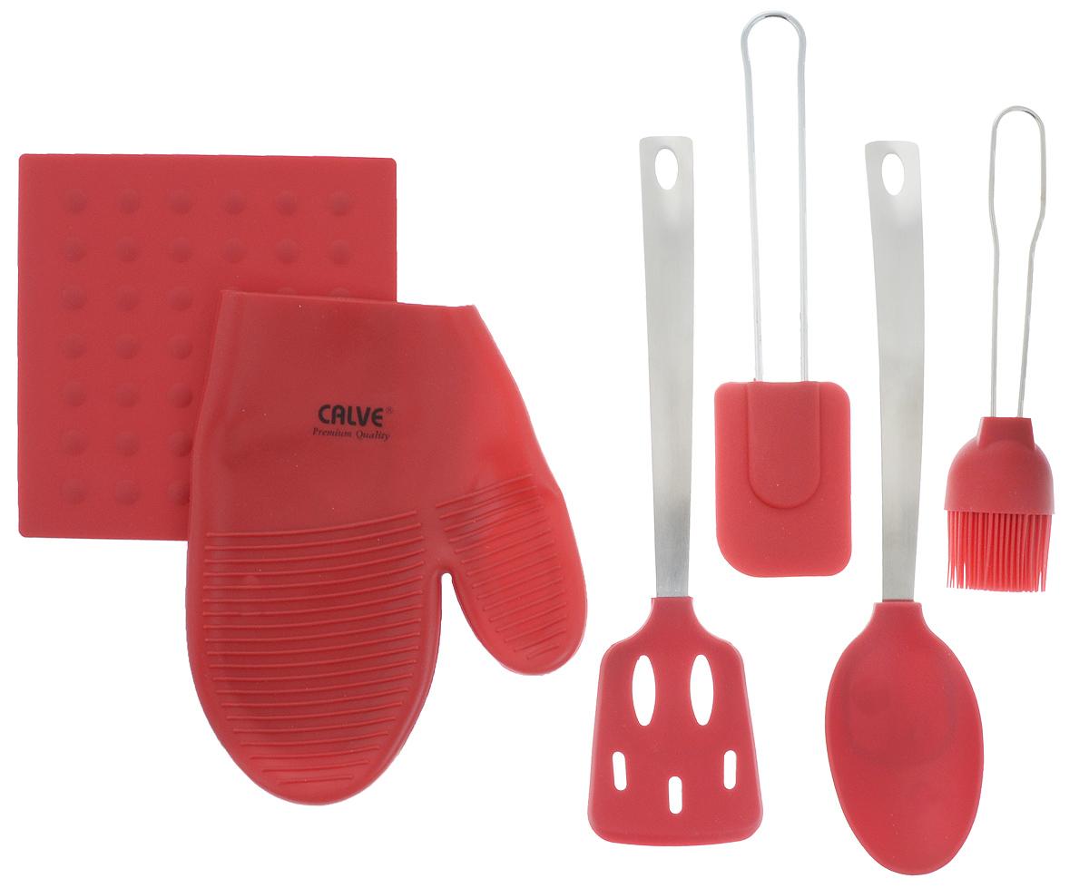 Набор кухонных принадлежностей Calve Premium Quality, цвет: красный, серебристый, 6 предметов прихватка roko 17 х 17 см 115358