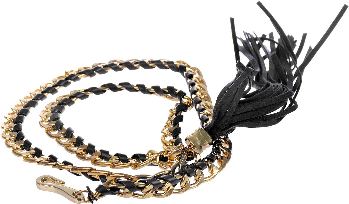 Ремень женский Baon, цвет: темно-синий, золотой. B386501. Размер 75B386501_Dark NavyСтильный женский ремень Baon станет идеальным дополнением к вашему образу. Изделие изготовлено из качественного полиуретана зернистой текстуры и металла. Ремень оформлен декоративной цепочкой и подвеской в виде веревочек. Ремень фиксируется с помощью замка-крючка, который выполнен из металла.Такой ремень станет незаменимым аксессуаром в вашем гардеробе, который подчеркнет ваш стиль и индивидуальность.