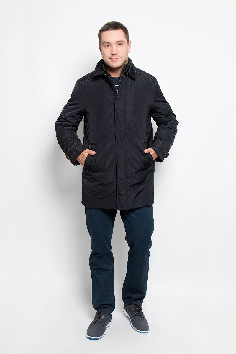 Куртка мужская Baon, цвет: черный. B536526. Размер L (50)B536526_BlackМужская куртка Baon придаст образу безупречный стиль. Изделие выполнено из полиэстера. В качестве утеплителя используется синтепон. Удлиненная куртка прямого кроя с отложным воротником застегивается на металлические кнопки и крючок. Спереди расположены два прорезных кармана с застежками-кнопками, внутри - потайной карман на молнии. Сзади на куртке предусмотрен разрез с застежкой-кнопкой. Рукава украшены декоративными хлястиками на кнопках, а также небольшой пластиной с название бренда. Куртка дополнена внутри съемным жилетом, выполненным из полиэстера с тонкой прослойкой синтепона (100% полиэстер). Жилет пристегивается к куртке с помощью текстильных хлястиков и застежек-кнопок. Модель с воротником-стойкой застегивается на пластиковую молнию. Спереди расположены два прорезных кармана на застежка-кнопках.Жилет предназначен для дополнительного тепла, а также его можно использовать как отдельный предмет одежды. Практичная и теплая куртка послужит отличным дополнением к вашему гардеробу!