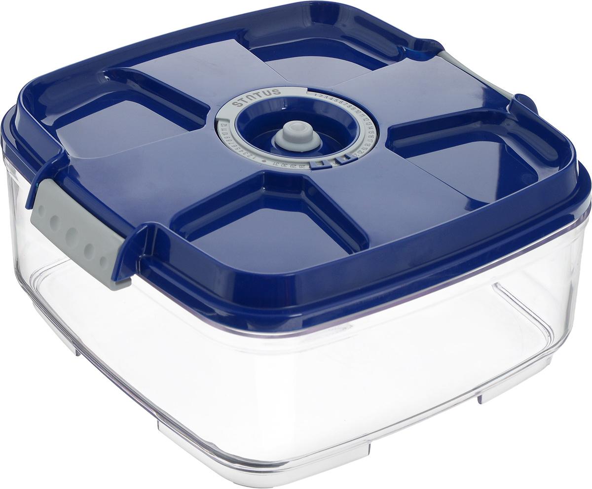 Контейнер вакуумный Status, с индикатором даты срока хранения, цвет: прозрачный, синий, 2 л. VAC-SQ-20VAC-SQ-20_BlueВакуумный контейнер Status выполнен из хрустально-прозрачного прочного тритана. Благодаря вакууму, продукты не подвергаются внешнему воздействию, и срок хранения значительно увеличивается, сохраняют свои вкусовые качества и аромат, а запахи в холодильнике не перемешиваются. Допускается замораживание до -21°C, мойка контейнера в посудомоечной машине, разогрев в СВЧ (без крышки). Рекомендовано хранение следующих продуктов: макаронные изделия, крупа, мука, кофе в зёрнах, сухофрукты, супы, соусы. Контейнер имеет индикатор даты, который позволяет отмечать дату конца срока годности продуктов.Размер контейнера (с учетом крышки): 22 х 22 х 11 см.