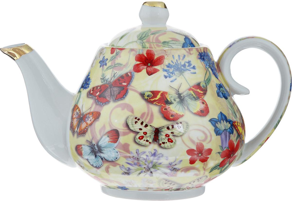 Чайник заварочный Loraine Бабочки, 1 л24558Заварочный чайник Loraine изготовлен из высококачественной керамики. Он имеет изящную форму и декорирован нежным рисунком с изображением бабочек. Чайник сочетает в себе стильный дизайн смаксимальной функциональностью. Красочность оформления придется по вкусу и ценителям классики, и тем, кто предпочитает утонченность и изысканность.Чайник упакован в подарочную коробку из плотного картона. Внутренняя часть коробки задрапирована атласом, и чайник надежно крепится в определенном положении благодаряособым выемкам в коробке. Диаметр по верхнему краю: 8 см.Диаметр основания: 8 см.Высота чайника (с учетом крышки): 14,5 см.Высота чайника (без учета крышки): 11,5 см.