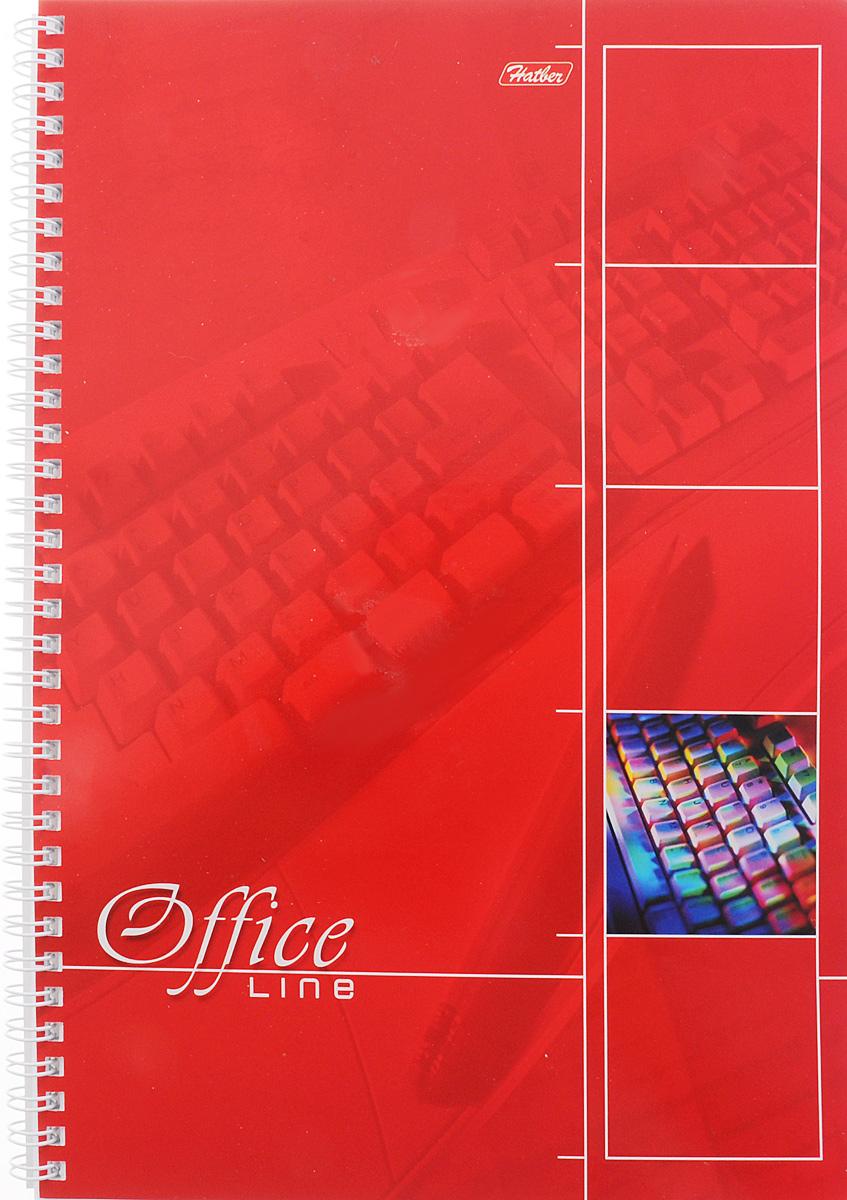 Hatber Тетрадь Office Line 80 листов в клетку цвет красный рюкзак школьный hatber trend line хатико цвет черный
