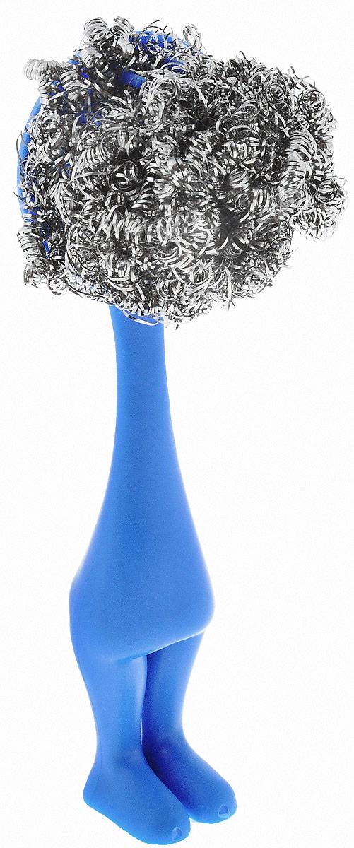 Щетка для мытья посуды Мультидом, с металлической мочалкой, цвет: синий, стальной, длина 15 смDH58-150_синийЩетка Мультидом предназначена для мытья посуды. Металлическая мочалкабыстро удаляет въевшуюся грязь и застаревшие остатки пиши. Щетка имеет ручкус зубцами, которая позволяет прочно закрепить на ней металлическую мочалку.Таким образом ручка является универсальной и на ней можно закреплять любыеметаллические мочалки. Благодаря ручке исключается контакт рук с моющимсредством, что делает щетку еще удобнее. Оригинальный и стильный дизайнщетки украсит вашу кухню. Мочалка изготовлена из коррозионностойкой (нержавеющей) стали,ручка - из полипропилена.Длина: 15 см.Ширина рабочей поверхности: 4 см.
