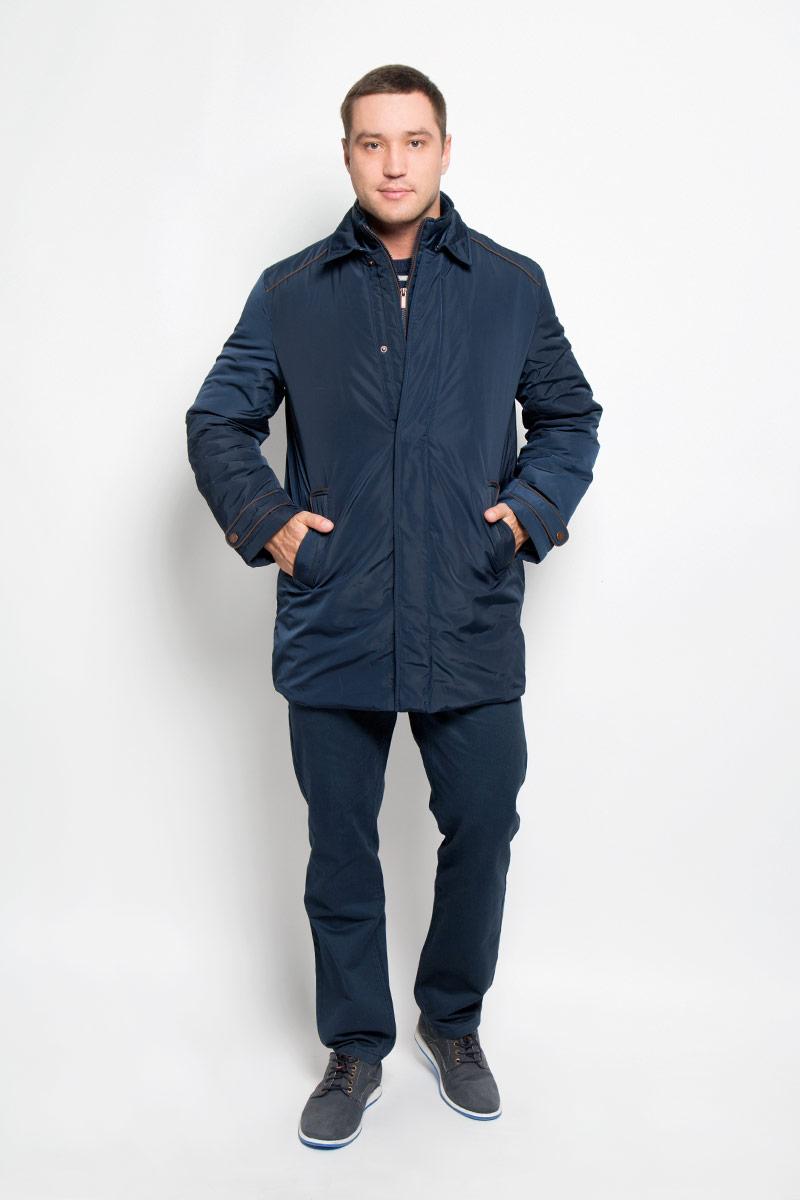 Куртка мужская Baon, цвет: темно-синий. B536526. Размер XL (52)B536526_Deep NavyМужская куртка Baon придаст образу безупречный стиль. Изделие выполнено из полиэстера. В качестве утеплителя используется синтепон. Удлиненная куртка прямого кроя с отложным воротником застегивается на металлические кнопки и крючок. Спереди расположены два прорезных кармана с застежками-кнопками, внутри - потайной карман на молнии. Сзади на куртке предусмотрен разрез с застежкой-кнопкой. Рукава украшены декоративными хлястиками на кнопках, а также небольшой пластиной с название бренда. Куртка дополнена внутри съемным жилетом, выполненным из полиэстера с тонкой прослойкой синтепона (100% полиэстер). Жилет пристегивается к куртке с помощью текстильных хлястиков и застежек-кнопок. Модель с воротником-стойкой застегивается на пластиковую молнию. Спереди расположены два прорезных кармана на застежка-кнопках.Жилет предназначен для дополнительного тепла, а также его можно использовать как отдельный предмет одежды. Практичная и теплая куртка послужит отличным дополнением к вашему гардеробу!