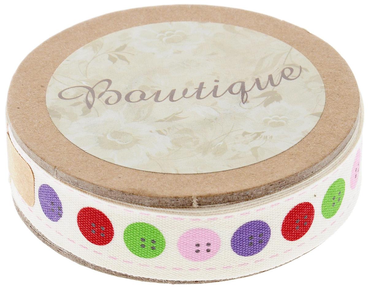 Лента хлопковая Hemline Пуговицы, 1,5 х 500 см новогодняя гирлянда lunten ranta цвет серебристый длина 2 м 65515