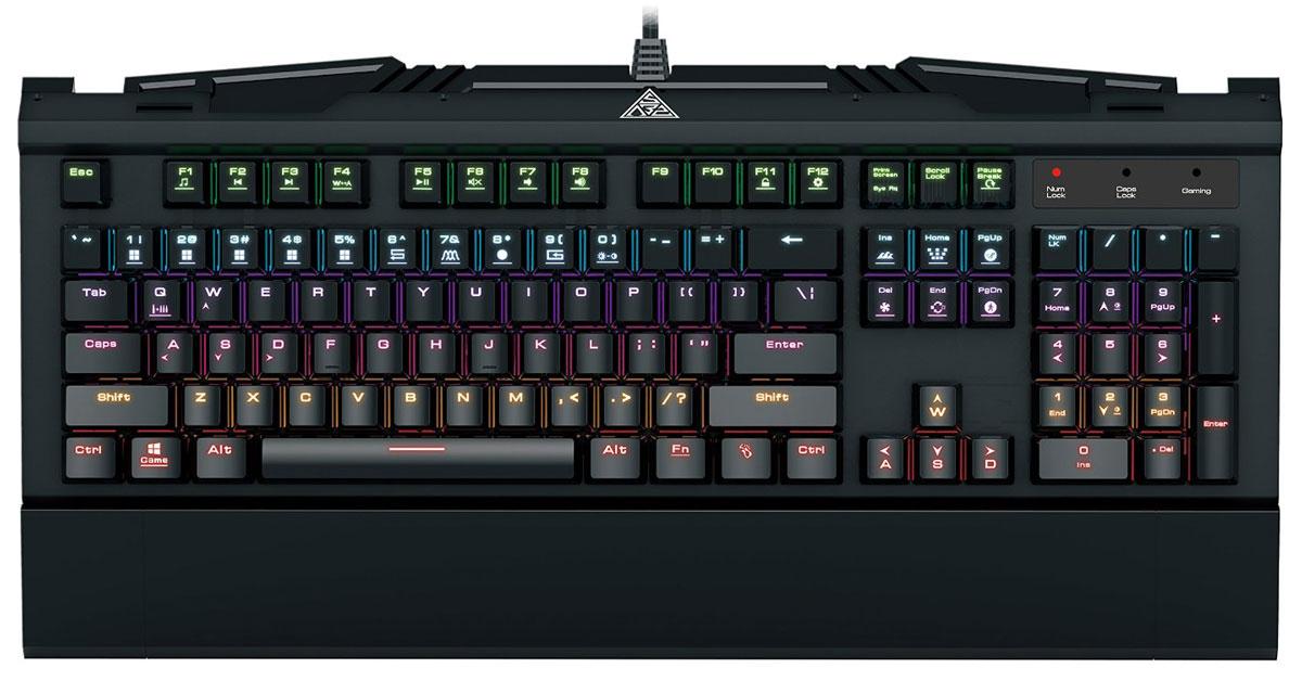 Gamdias Hermes 7 Color игровая клавиатураGKB3000Механическая клавиатура Gamdias Hermes 7 Color отличается превосходным соотношением цена/качество. Металлическая поверхность корпуса клавиатуры обеспечивает крепкость и надежность всей конструкции. Gamdias Hermes 7 Color оснащена сертифицированными механическими свичами Gamdias Certified (Blue), жизненный цикл которых составляет 50 миллионов нажатий. Также имеется 14 наборов эффектов светодиодной подсветки: 9 встроенных наборов и 5 настраиваемых шаблонов.Частота опроса: 1000 ГцВстроенная память: 8 КбБлокировка клавиши WindowsВозможность блокировки всех клавиш
