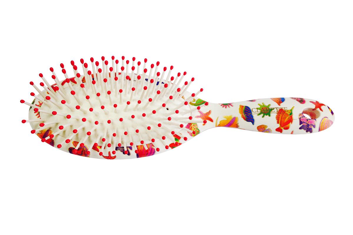 Clarette Щетка для волос на подушке овальнаяCFB 540Коллекция Сlarette Fleur- это расчески и щетки для волос из облегченного пластика. Яркая цветовая расцветка напоминает нам о долгожданном лете и улучшает наше настроение. Незаменнима для отпуска. Пластиковые зубья с массажными шариками обеспечивают массаж головы, стимулируя рост волос.