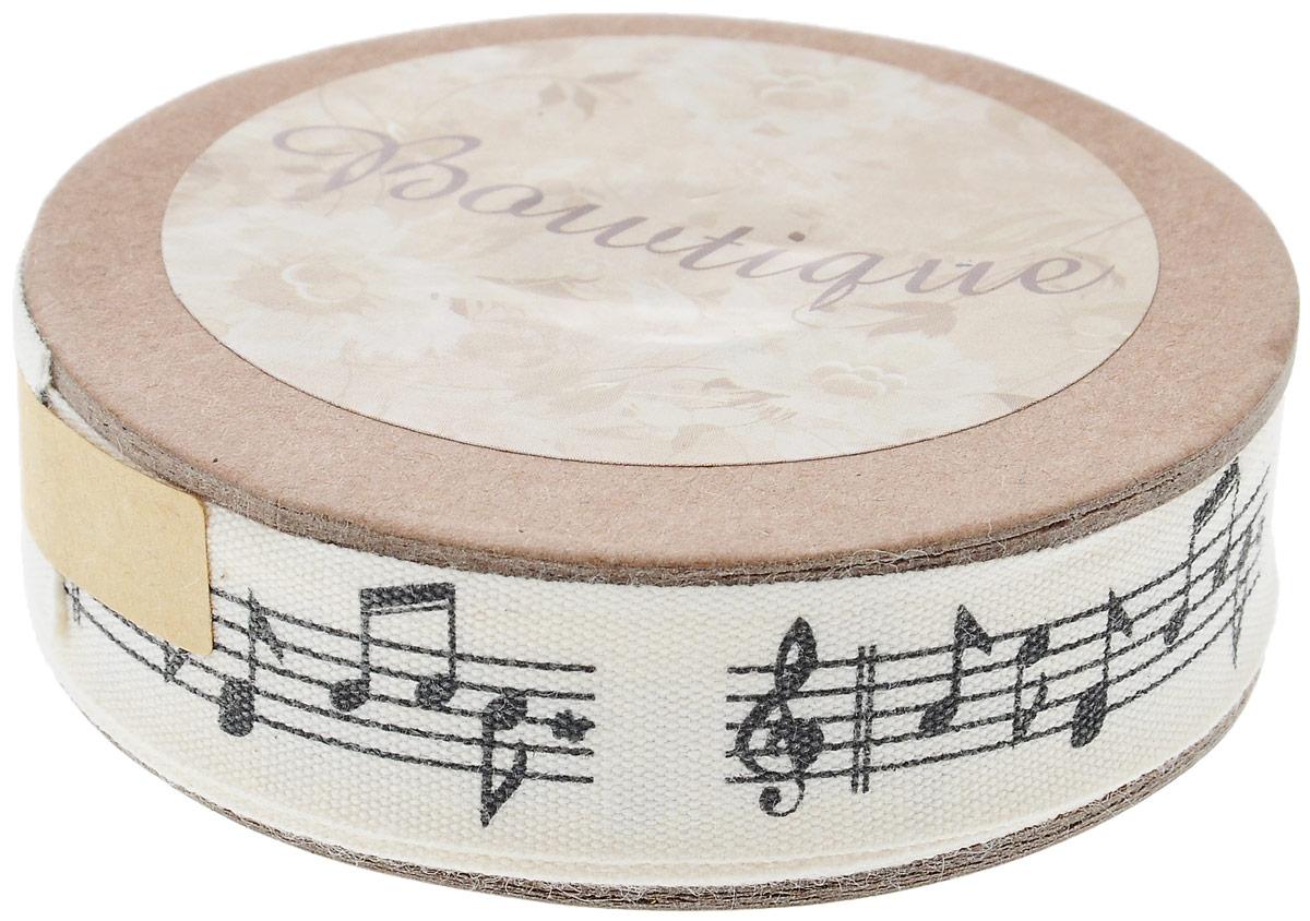 Лента хлопковая Hemline Музыкальные ноты, цвет: молочный, черный, 1,5 х 500 см куплю старые музыкальные ноты в барнауле