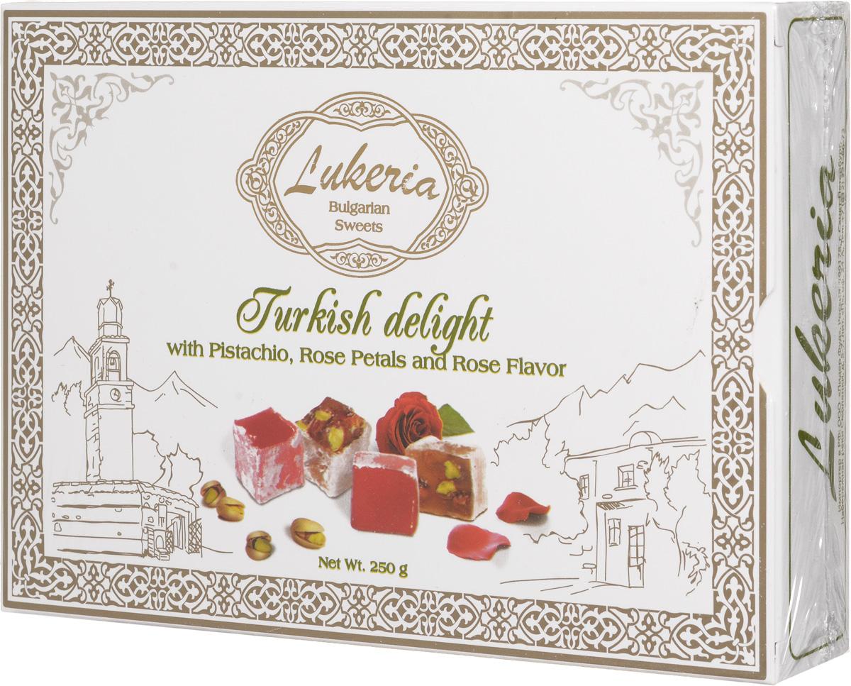 Lukeria Рахат-лукум с фисташками, лепесками и ароматом розы, 250 г lukeria рахат лукум с алоэ вера и дыней 100 г