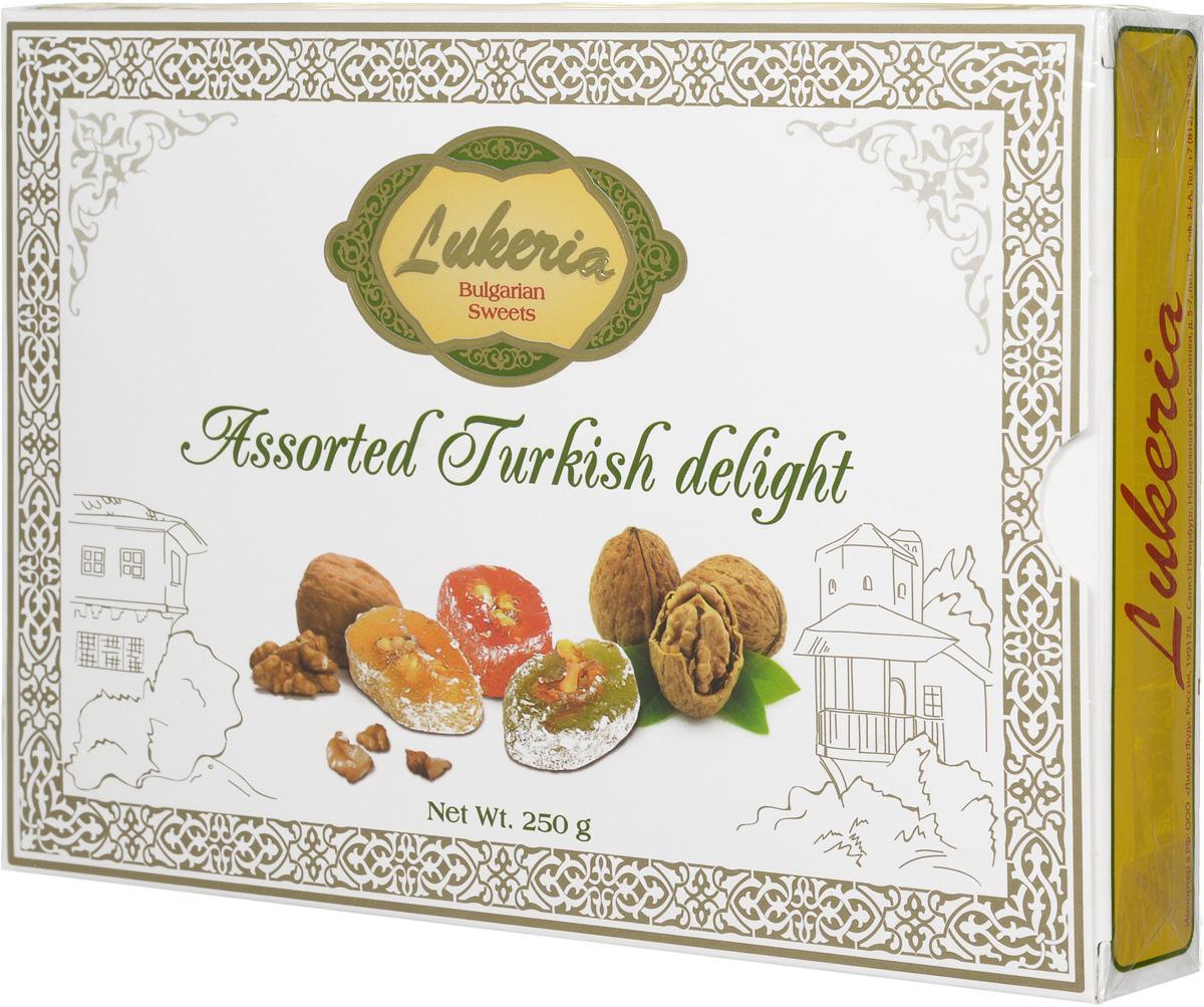 Lukeria Визирь Рахат-лукум с грецким орехом (ассорти с ароматами розы, мяты и лимона), 250 г lukeria рахат лукум с алоэ вера и дыней 100 г