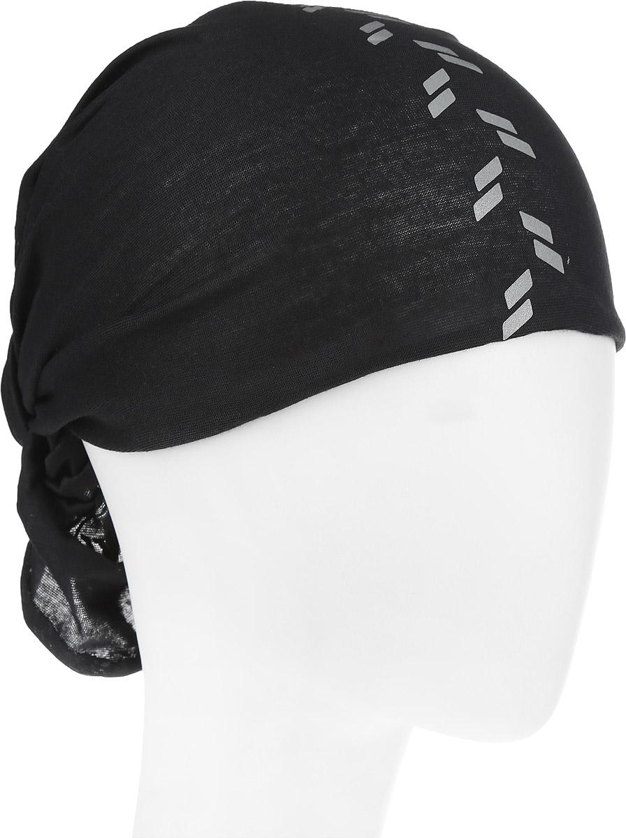 Бандана Buff Original Buff Reflective R-Black, цвет: черный. 111393.00. Размер универсальный111393.00Многофункциональная бандана Buff Original BuffReflective R-Black, выполненная из мягкого полиэстра, защищает от ветра, пыли, влаги и ультрафиолета. Материал изделия контролирует микроклимат в холодную и теплую погоду, отводит влагу. Ткань обработана ионами серебра, обеспечивающими длительный антибактериальный эффект и предотвращающими появление запаха. Материал не теряет цвет и эластичность, не требует глажки. Бесшовная бандана-труба дополнена светоотражающими элементами в виде двух полос, которые повышают безопасность в условиях недостаточной освещенности. Модель можно носить на шее и на голове, как шейный платок, маску, бандану, шапку и подшлемник. Изделие очень эластично и принимает практически любую форму. Оформлена бандана небольшим логотипом бренда. Свойства материала позволяют использовать бандану в любое время года, при занятиях любым видом спорта, активного отдыха, туризма или рыбалки.