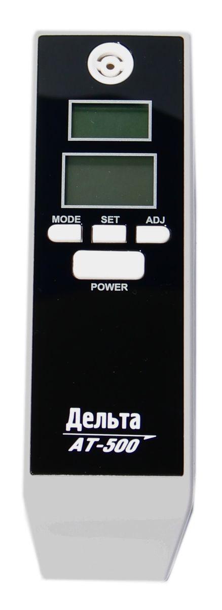 Дельта АТ 500, Black алкотестер4603726128100Персональный алкогольный тестер Дельта АТ 500. Два дисплея, полупроводниковый датчик алкоголя, время нагрева около 10с, Диапазон измерений 0-2 промилле. Часы, таймер, будильник. Предназначен для определения содержания паров алкоголя в выдыхаемом воздухе. Имея небольшие размеры, он очень компактен и удобен в использовании. Концентрация алкоголя определяется высокотехнологичным полупроводниковым газовым сенсором - анализатором. Результат измерений выводится на удобный и большой жидкокристаллический дисплей.