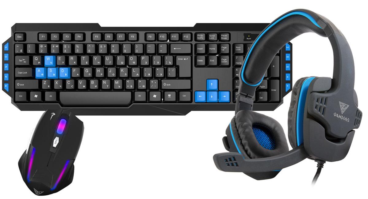 Gamdias Combo 3-in-1 клавиатура + мышь + наушникиGKS100Gamdias Combo 3-in-1 -набор, состоящий из мембранной клавиатуры, оптической мыши и гарнитуры с 40- миллиметровыми динамиками.Клавиатура имеет мембранную структуру. В конструкции клавиатуры имеются отверстия для вывода влаги изкорпуса, в случае если на неё была пролита жидкость. 10 горячих клавиш упрощают работу с почтой, поиском,калькулятором, управлением аудио.Мышь оснащена дышащей RGB-подсветкой. Оптический сенсор с разрешением 3200 dpi, которое можно менятьналету, гарантирует безошибочное позиционирование мыши. Идеальна для любого типа хвата.Гарнитура оснащена 40-мм динамиками с яркими высокими частотами и глубоким насыщенным басом. Надежныйкабель в двухцветной оплетке. Большие амбушюры и прекрасная звукоизоляция. Встроенный в кабель пультуправления громкостью и микрофоном.Клавиатура: Мультимедиа клавиши: 10 Жизненный цикл клавиш: 8 000 000Мышь: Количество кнопок: 5Гарнитура: Чувствительность: 125 дБ Частотный диапазон: 20-20000 Гц Сопротивление: 32 ОмМатериал амбушюр: кожа Интерфейс: два 3.5 ммДлина кабеля: 1,6 м