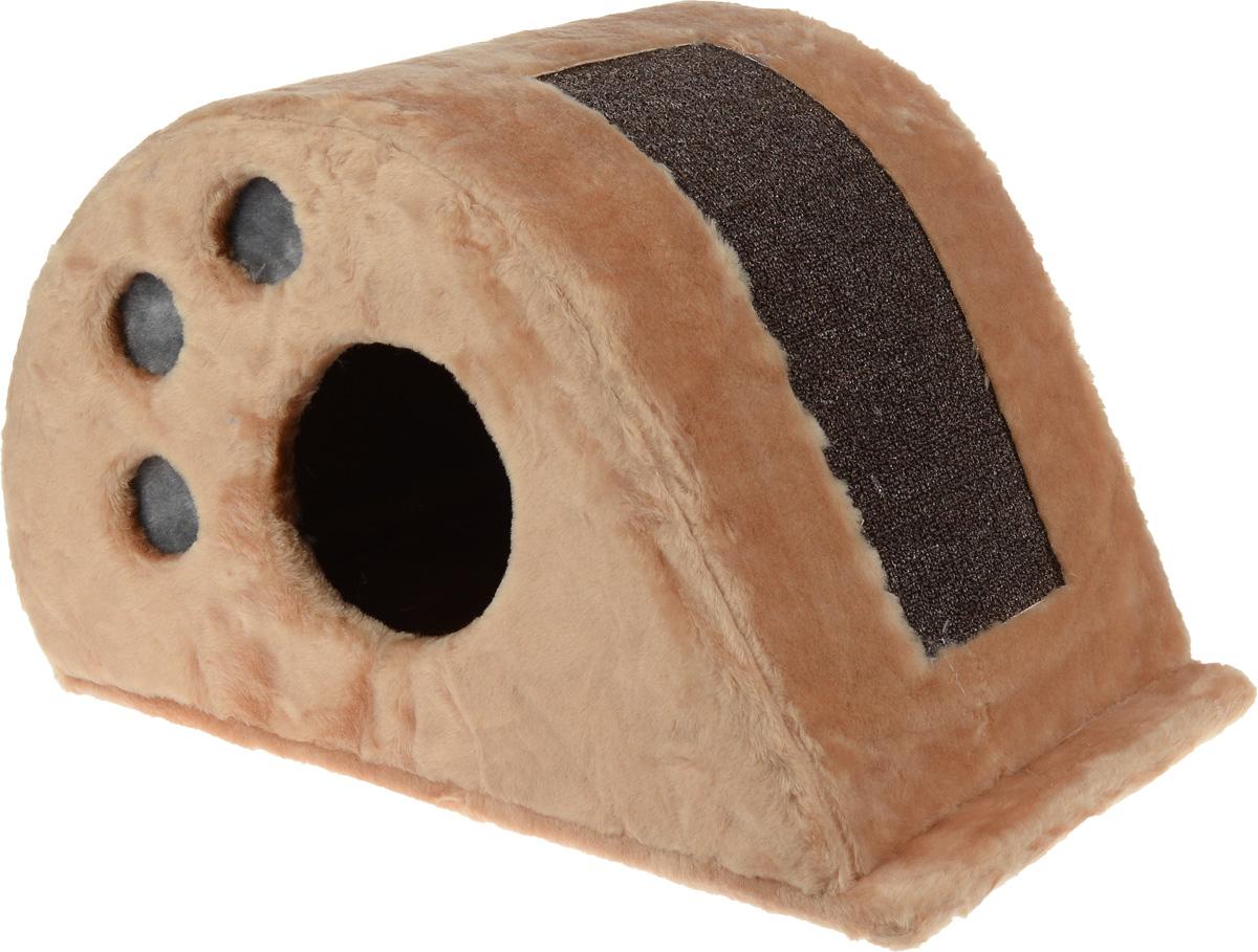 Игровой комплекс для кошек Меридиан  Капля , с домиком и когтеточкой, цвет: светло-коричневый, коричневый, 62 х 34 х 35 см