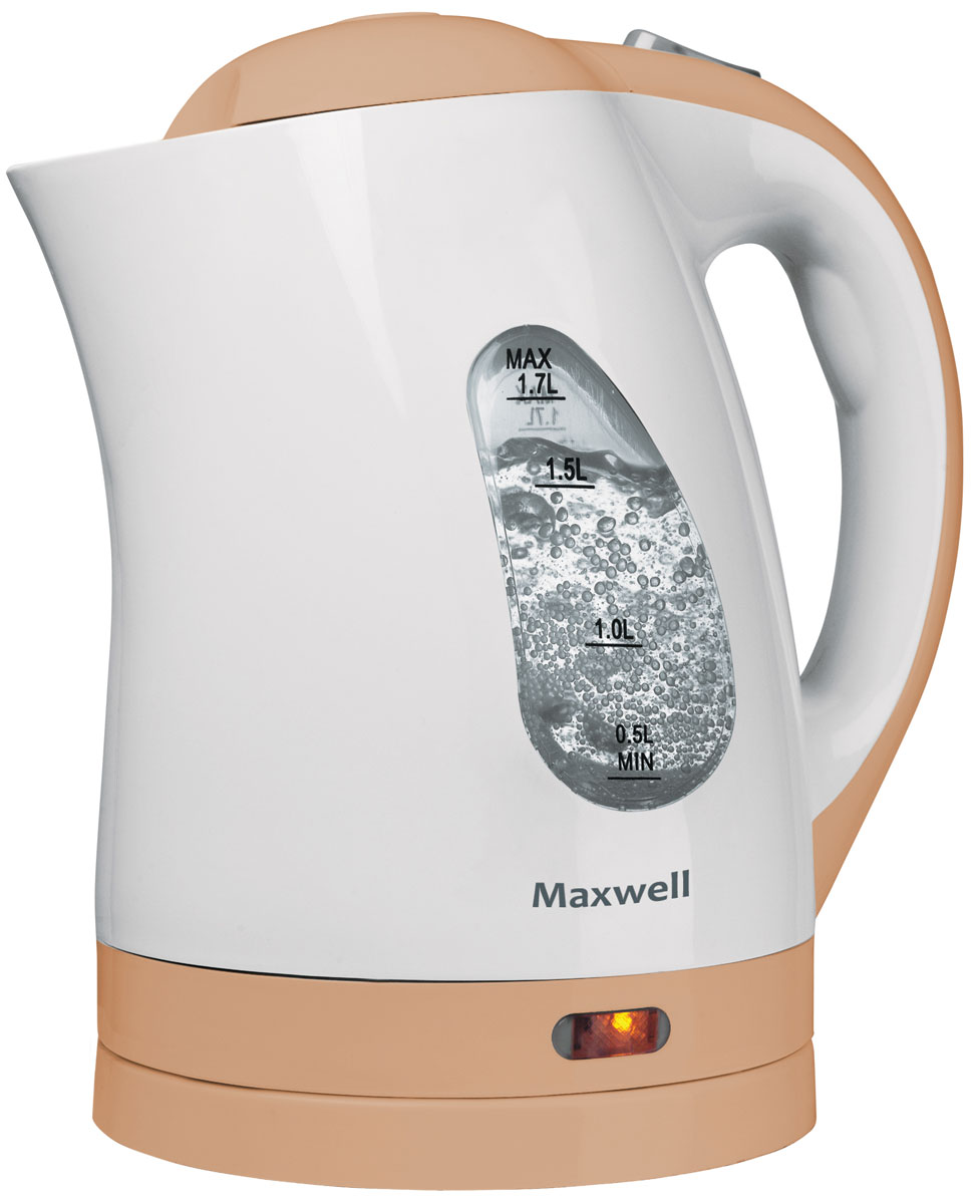 Maxwell MW-1014(BN) электрический чайникMW-1014(BN)Чайник MAXWELL MW-1014(BN) позволит легко и быстро вскипятить воду для любимых горячих напитков. Компактная модель совмещает в себе все важные функции, которые позволят комфортно пользоваться чайником. Устройство автоматически отключается, когда вода в нем закипает и не включается, если воды в чайнике недостаточно. Более того, во время работы чайника горит соответствующий индикатор, а при помощи специальной шкалы на корпусе устройства вы всегда будете знать, хватит ли воды для чая. Удобство использования чайника дополняется стильным дизайном. Именно поэтому данная модель прекрасно смотрится в любом кухонном интерьере.