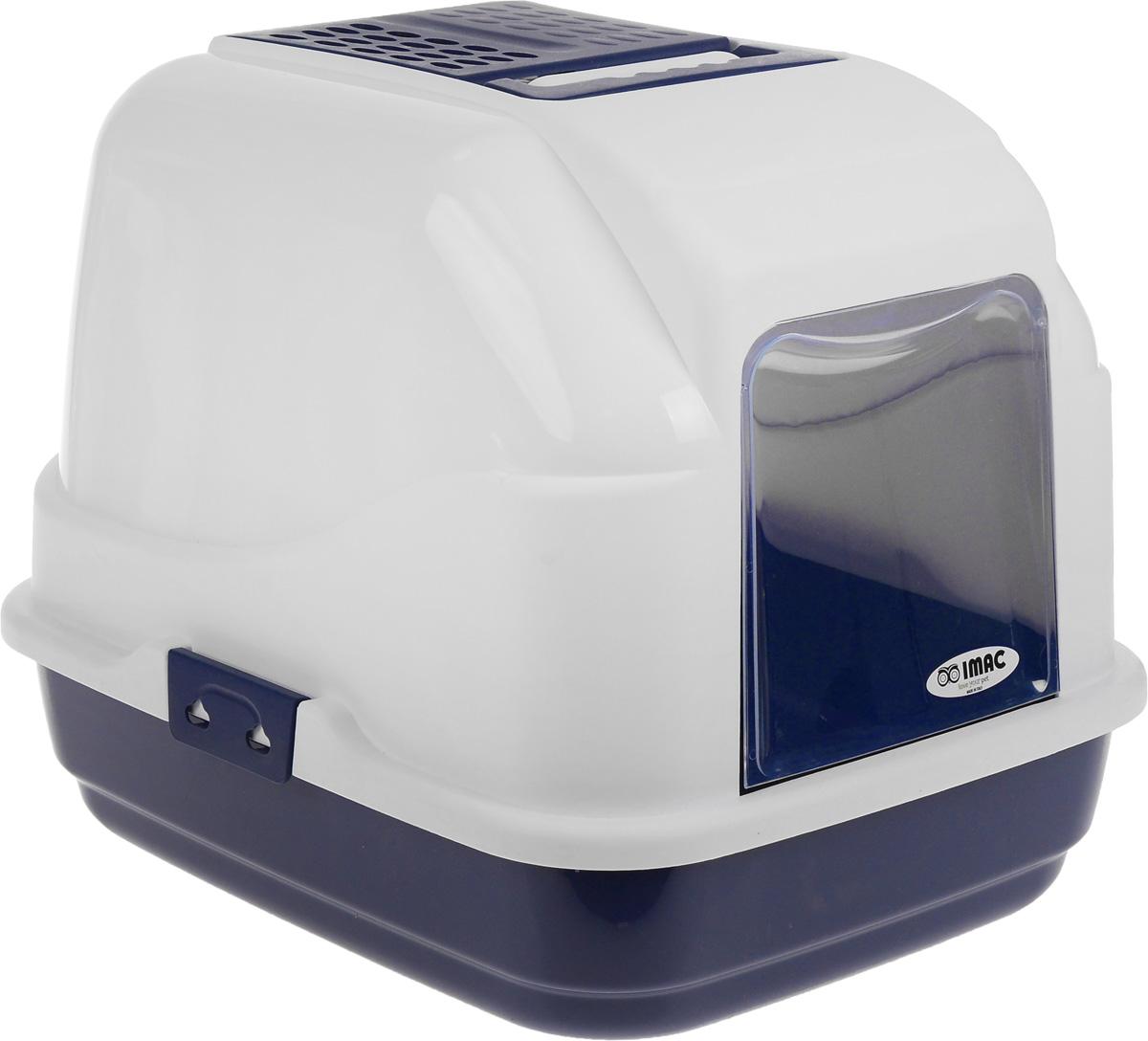 Туалет для кошек IMAC Easy Cat, закрытый, цвет: белый, синий, 50 х 40 х 40 см савик туалет закрытый бело голубой с рисунком для кошек savic sphinx impression 1 шт