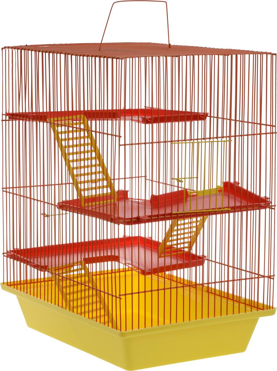 Клетка для грызунов ЗооМарк Гризли, 4-этажная, цвет: желтый поддон, оранжевая решетка, красные этажи, 41 х 30 х 50 см240_желтый, оранжевый, красныйКлетка ЗооМарк Гризли, выполненная из полипропилена и металла, подходит для мелких грызунов. Изделие четырехэтажное. Клетка имеет яркий поддон, удобна в использовании и легко чистится. Сверху имеется ручка для переноски. Такая клетка станет уединенным личным пространством и уютным домиком для маленького грызуна.