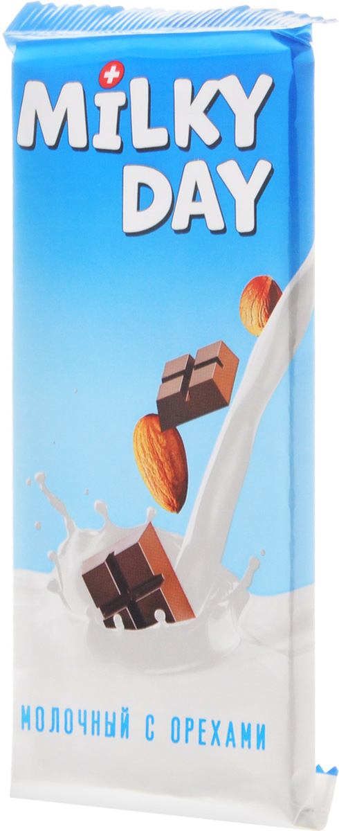 Milky Day кондитерская плитка молочная со злаками и орехами, 90 г14.2052Молочный Milky Day со злаками и орехами - это вкусное, нежное и полезное лакомство. С Milky Day новый день вкусней!