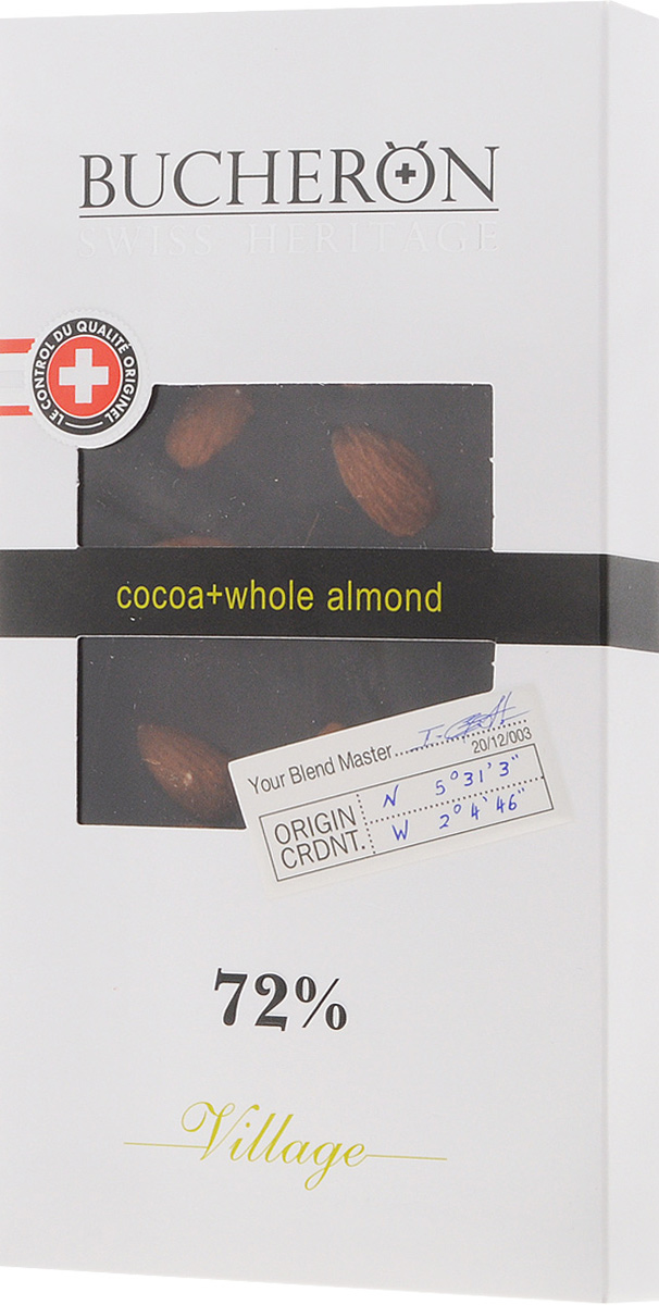 Bucheron горький шоколад с цельным миндалем, 100 г