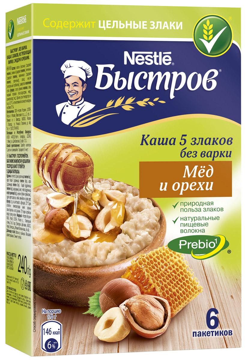 Быстров С медом и орехами каша 5 злаков, 6 пакетиков х 40 г