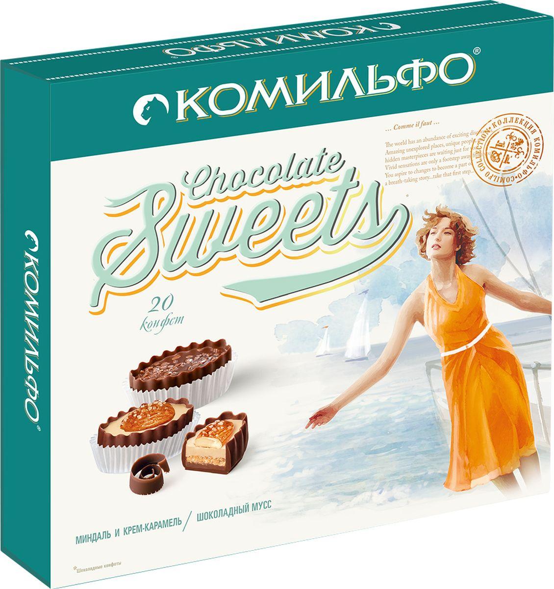 Комильфо шоколадные конфеты крем-брюле шоколадный мусс, 232 г raffaello конфеты с цельным миндальным орехом в кокосовой обсыпке 90 г
