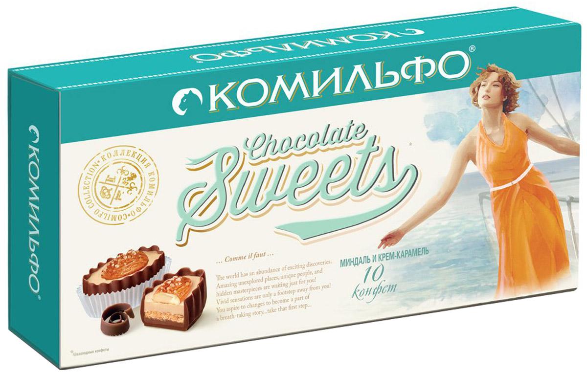Комильфо шоколадные конфеты миндаль и крем-карамель, 116 г12287033Каждая конфета Комильфо - это неповторимое сочетание нежной текстуры, нескольких восхитительных начинок в обрамлении превосходного шоколада и акцента в виде изысканного украшения. Уникальные конфеты словно выполнены вручную и упакованы в премиальную, женственную, подарочную коробку. Отличный повод поделиться с родными и близкими и побаловать себя. Уважаемые клиенты! Обращаем ваше внимание, что полный перечень состава продукта представлен на дополнительном изображении.