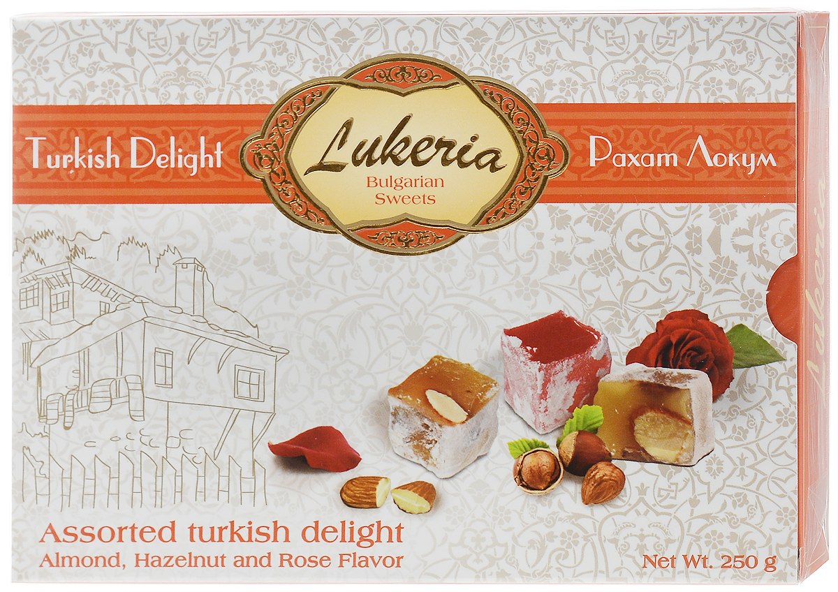 Lukeria Рахат-лукум с орехами (миндаль, фундук) и ароматом розы, 250 г