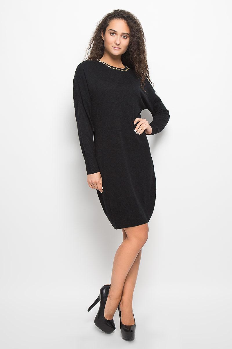 Платье Baon, цвет: черный. B452. Размер S (44)B452_BlackМодное платье Baon поможет создать отличный современный образ в стиле Casual. Модель, изготовленная из вискозы и полиэстера с добавлением полиамида и ангоры, очень мягкая и тактильно приятная, не сковывает движения. Платье-миди с круглым вырезом горловины и длинными рукавами-кимоно выполнено в лаконичном стиле. Горловина, манжеты рукавов и низ платья связаны резинкой. Вырез горловины оформлен металлической цепочкой.Такое платье станет стильным дополнением к вашему гардеробу, оно подарит вам комфорт в течение всего дня!