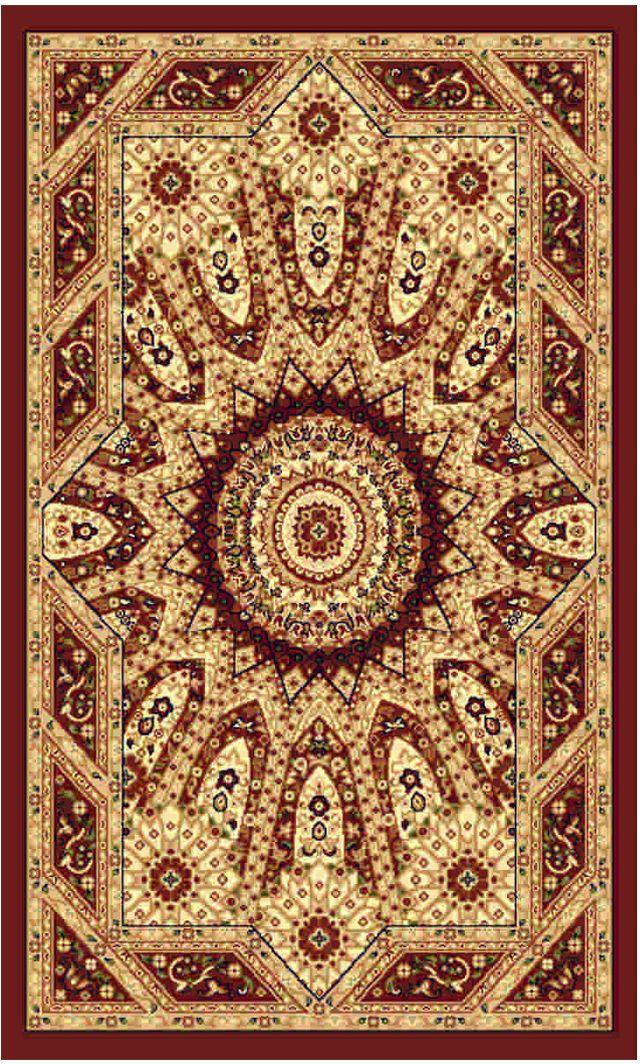 Ковер Kamalak tekstil, прямоугольный, цвет: бордовый , 80 x 150 см. УК-0244УК-0244Ковры-паласы выполнены из полипропилена. Ковры обладают хорошими показателями теплостойкости и шумоизоляции. Являются гиппоалергенными. За счет невысокого ворса ковры легко чистить. Вам придется по душе широкая гамма цветов и возможность гармонично оформить интерьер. Практичный и устойчивый к износу ворс - от постоянного хождения не истирается, не накапливает статическое электричество. Структура волокна в полипропиленовых моделях гладкая, поэтому грязь не может выесться, на ворсе она скапливается с трудом. Полипропилен не впитывает влагу, отталкивает водянистые пятна. Уход: Самый простой способ избавить изделие от грязи – пропылесосить его с обеих сторон (лицевой и изнаночной).Влажная уборка с применением шампуней и моющих средств не противопоказана. Если шерсти и шёлку универсальные чистящие составы не подходят, то для синтетики они придутся в самый раз.Хранить их нужно рулоном, не складывая «салфеткой».При надлежащем уходе синтетический ковёр прослужит долго, не утратив ни яркости узора, ни блеска ворса, ни его упругости.