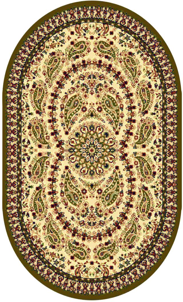 Ковер Kamalak tekstil, овальный, цвет: кремовый, 100 x 150 см. УК-0174УК-0174Ковры-паласы выполнены из полипропилена. Ковры обладают хорошими показателями теплостойкости и шумоизоляции. Являются гиппоалергенными. За счет невысокого ворса ковры легко чистить. Вам придется по душе широкая гамма цветов и возможность гармонично оформить интерьер. Практичный и устойчивый к износу ворс - от постоянного хождения не истирается, не накапливает статическое электричество. Структура волокна в полипропиленовых моделях гладкая, поэтому грязь не может выесться, на ворсе она скапливается с трудом. Полипропилен не впитывает влагу, отталкивает водянистые пятна. Уход: Самый простой способ избавить изделие от грязи – пропылесосить его с обеих сторон (лицевой и изнаночной). Влажная уборка с применением шампуней и моющих средств не противопоказана. Если шерсти и шёлку универсальные чистящие составы не подходят, то для синтетики они придутся в самый раз. Хранить их нужно рулоном, не складывая «салфеткой». При надлежащем уходе синтетический ковёр прослужит долго, не утратив ни яркости узора, ни блеска ворса, ни его упругости.